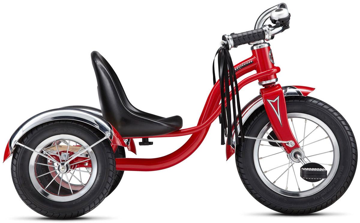 Schwinn Roadster Trike Детский трехколесный велосипед цвет красный38675674011Уникальный 3-колесный велосипед Schwinn Roadster Trike создан для самых маленьких. Создавайте воспоминания вместе с Schwinn Roadster Trike, которые будут длиться всю жизнь. Ярко-красный трёхколёсный ретро-байк с педалями на переднем колесе специально разработан с низким центром тяжести, что позволяет ребенку управлять велосипедом легко и безопасно. Велосипед имеет стальную раму и вилку. Сиденье сделано из прочной высококачественной пластмассы с возможностью регулировки по длине. Педали у велосипеда пластиковые с отражателями. Хромированные руль, крылья и звонок понравятся не только малышу, но и его родителям, когда будут наблюдать за его блестящими вело приключениями. Площадка для катания стоя поможет младенцу привыкать к скорости, а родителям участвовать в процессе катания. Предназначен для детей в возрасте от 1 до 3 лет. Американская компания Schwinn является одной из старейших на велосипедном рынке (производство велосипедов началось в 1895 году). В ...