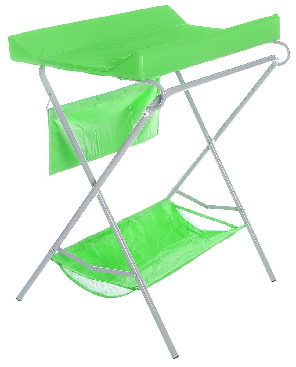 Фея Стол для пеленания цвет зеленый4249-4Стол для пеленания Фея - удобное приспособление для пеленания новорожденных и проведения гигиенических процедур. Текстильная корзинка внизу и карманчики сбоку позволяют разместить все необходимые для ухода за малышом аксессуары, включая пеленки или подгузники. Откидная доска освобождает место для установки ванночки (в комплект не входит). Возможность складывать столик когда тот не используется - значительно экономит место в комнате. Это идеальное приобретение для тех, кто не хочет или не может в силу маленькой площади детской заставлять ее лишней мебелью.