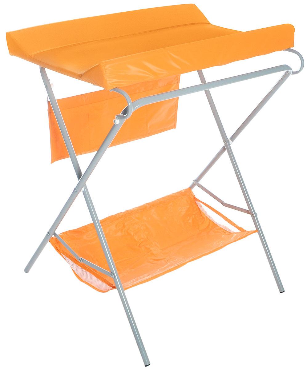 Фея Стол для пеленания цвет оранжевый4249-3Пеленальный столик Фея - удобное приспособление для пеленания новорожденных и проведения гигиенических процедур. Текстильная корзинка внизу и карманчики сбоку позволяют разместить все необходимые для ухода за малышом аксессуары, включая пеленки или подгузники. Откидная доска освобождает место для установки ванночки (в комплект не входит). Возможность складывать столик когда тот не используется - значительно экономит место в комнате. Это идеальное приобретение для тех, кто не хочет или не может в силу маленькой площади детской заставлять ее лишней мебелью.