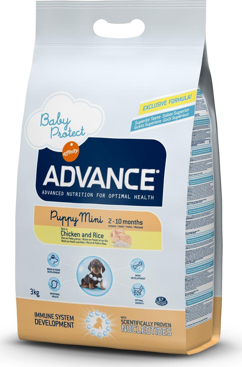 Корму сухой Advance для щенков малых пород с 2 до 10 месяцев Baby Protect Mini, 3 кг. 50131913044Advance – высококачественный корм супер-премиум класса Испанской компании Affinity Petcare, которая занимает лидирующие места на Европейском и мировом рынках. Корм разработан с учетом всех особенностей развития и жизнедеятельности собак и кошек. В линейке кормов Advance любой хозяин может подобрать необходимое питание в соответствии с возрастом и уникальными особенностями своего животного, а также в случае назначения специалистами ветеринарной диеты. Курица (20%), рис (17%), дегидрированное мясо курицы, мука из маиса, животный жир, маис, пшеница, гидролизированный белок животного происхождения, свекольный жом, рыбий жир,яичный порошок, дрожжи, плазменный протеин, хлористый калий, соль, трикальцийфосфат, нуклеотиды. Affinity Petcare имеет собственную лабораторию, а также сотрудничает со множеством международных исследовательских центров, благодаря чему специалисты постоянно совершенствуют рецептуру и полезные свойства своих кормов. В составе главным источником белка является СВЕЖЕЕ...