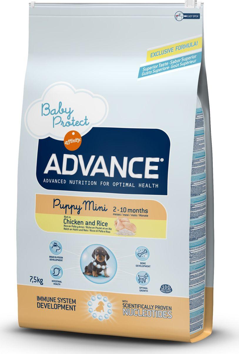 Корму сухой Advance для щенков малых пород с 2 до 10 месяцев Baby Protect Mini, 7,5 кг. 54441113045Advance – высококачественный корм супер-премиум класса Испанской компании Affinity Petcare, которая занимает лидирующие места на Европейском и мировом рынках. Корм разработан с учетом всех особенностей развития и жизнедеятельности собак и кошек. В линейке кормов Advance любой хозяин может подобрать необходимое питание в соответствии с возрастом и уникальными особенностями своего животного, а также в случае назначения специалистами ветеринарной диеты. Курица (20%), рис (17%), дегидрированное мясо курицы, мука из маиса, животный жир, маис, пшеница, гидролизированный белок животного происхождения, свекольный жом, рыбий жир,яичный порошок, дрожжи, плазменный протеин, хлористый калий, соль, трикальцийфосфат, нуклеотиды. Affinity Petcare имеет собственную лабораторию, а также сотрудничает со множеством международных исследовательских центров, благодаря чему специалисты постоянно совершенствуют рецептуру и полезные свойства своих кормов. В составе главным источником белка является СВЕЖЕЕ...