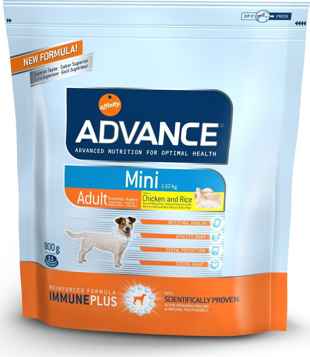 Корму сухой Advance для взрослых собак малых пород с 8 месяцев Mini Adult, 0,8 кг. 50211013046Advance – высококачественный корм супер-премиум класса Испанской компании Affinity Petcare, которая занимает лидирующие места на Европейском и мировом рынках. Корм разработан с учетом всех особенностей развития и жизнедеятельности собак и кошек. В линейке кормов Advance любой хозяин может подобрать необходимое питание в соответствии с возрастом и уникальными особенностями своего животного, а также в случае назначения специалистами ветеринарной диеты. Курица (20%), рис (15%), дегидрированное мясо курицы, пшеница, маисовый глютен, животный жир, маис, гидролизированный белок животного происхождения, свекольный жом, рыбий жир,яичный порошок, дрожжи, хлористый калий, плазменный протеин, пирофосфорнокислый натрий,карбонат кальция, соль, природные полифенолы. Affinity Petcare имеет собственную лабораторию, а также сотрудничает со множеством международных исследовательских центров, благодаря чему специалисты постоянно совершенствуют рецептуру и полезные свойства своих кормов. В составе...