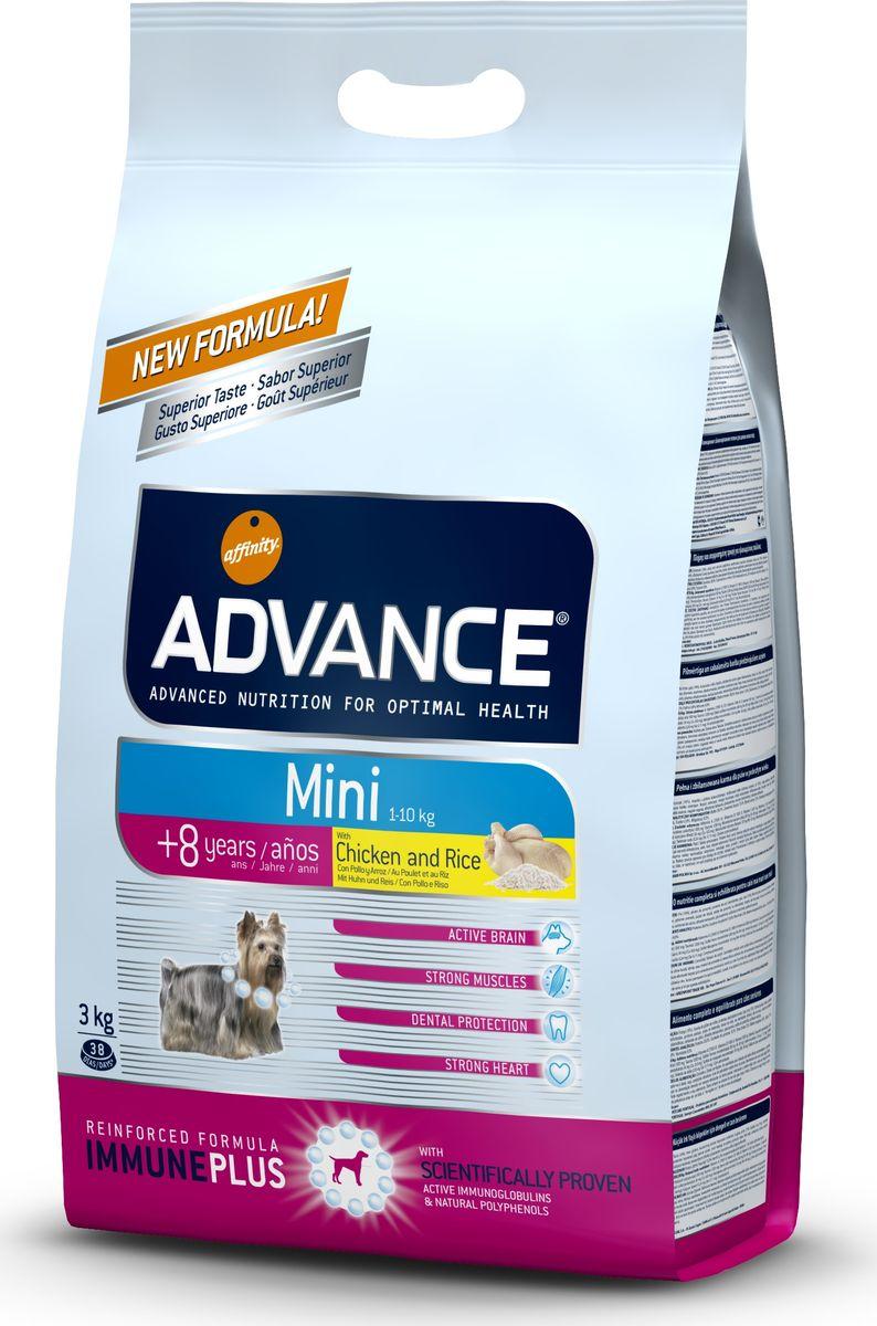 Корму сухой Advance для собак малых пород старше 8 лет Mini Senior, 3 кг. 54731113052Advance – высококачественный корм супер-премиум класса Испанской компании Affinity Petcare, которая занимает лидирующие места на Европейском и мировом рынках. Корм разработан с учетом всех особенностей развития и жизнедеятельности собак и кошек. В линейке кормов Advance любой хозяин может подобрать необходимое питание в соответствии с возрастом и уникальными особенностями своего животного, а также в случае назначения специалистами ветеринарной диеты. Курица (16%), мука из маиса, дегидрированное мясо курицы, пшеница, рис (10%), мука из пшеницы, маис, гидролизированный белок животного происхождения, животный жир, свекольный жом, кукурузые отруби, яичный порошок, дрожжи, рыбий жир, хлористый калий, плазменный протеин, карбонат кальция, пирофосфорнокислый натрий, глюкозамин, хондроитин сульфат, природные полифенолы. Affinity Petcare имеет собственную лабораторию, а также сотрудничает со множеством международных исследовательских центров, благодаря чему специалисты постоянно совершенствуют...