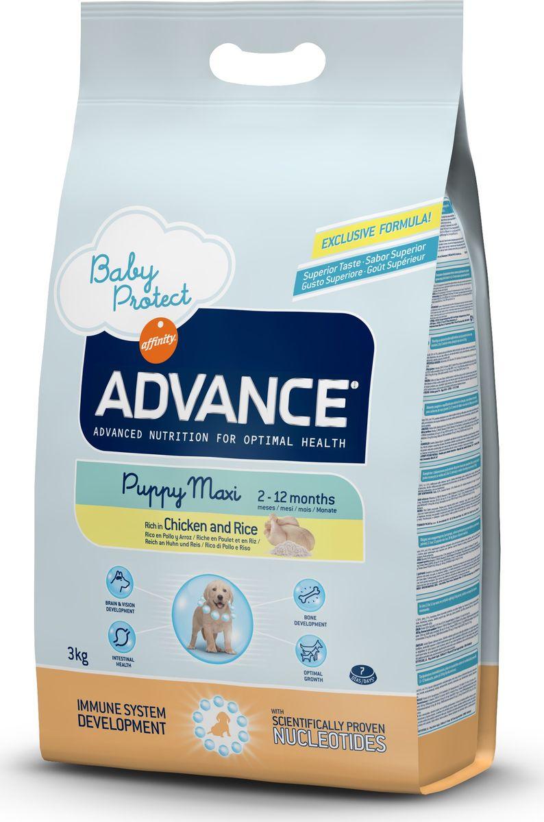 Корму сухой Advance для щенков крупных пород от 2 до 12 месяцев Baby Protect Maxi, 3 кг. 51331913063Advance – высококачественный корм супер-премиум класса Испанской компании Affinity Petcare, которая занимает лидирующие места на Европейском и мировом рынках. Корм разработан с учетом всех особенностей развития и жизнедеятельности собак и кошек. В линейке кормов Advance любой хозяин может подобрать необходимое питание в соответствии с возрастом и уникальными особенностями своего животного, а также в случае назначения специалистами ветеринарной диеты. Курица (16%), рис (15%), дегидрированное мясо курицы, мука из маиса, пшеница, маис, животный жир, гидролизированный белок животного происхождения, свекольный жом, дрожжи,яичный порошок, гидролизированное масло подсолнечника, рыбий жир, плазменный протеинs,овсяныe волокна, хлористый калий, соль, трикальцийфосфат, нуклеотиды, глюкозамин, хондроитинсульфат. Affinity Petcare имеет собственную лабораторию, а также сотрудничает со множеством международных исследовательских центров, благодаря чему специалисты постоянно совершенствуют рецептуру и...