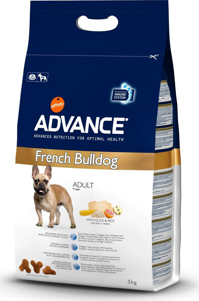 Корму сухой Advance для французских бульдогов French Bulldog, 3 кг. 50048513074Advance – высококачественный корм супер-премиум класса Испанской компании Affinity Petcare, которая занимает лидирующие места на Европейском и мировом рынках. Корм разработан с учетом всех особенностей развития и жизнедеятельности собак и кошек. В линейке кормов Advance любой хозяин может подобрать необходимое питание в соответствии с возрастом и уникальными особенностями своего животного, а также в случае назначения специалистами ветеринарной диеты. маис (21%), утка(18%), рис (15%), мука из маиса, дегидрированный белок утки, ячмень, гидролизированный белок животного происхождения,картофельный протеин,животный жир, гидролизированный коллаген, рыбий жир, дрожжи, свекольный жом, карбонат кальция, растительные волокна, хлористый калий, плазменный протеин,соевое масло, пирофосфорнокислый натрий, соль, дегидрированное яблоко (0.1%),дегидрированный грейпфрут (0.02%). Affinity Petcare имеет собственную лабораторию, а также сотрудничает со множеством международных исследовательских центров,...