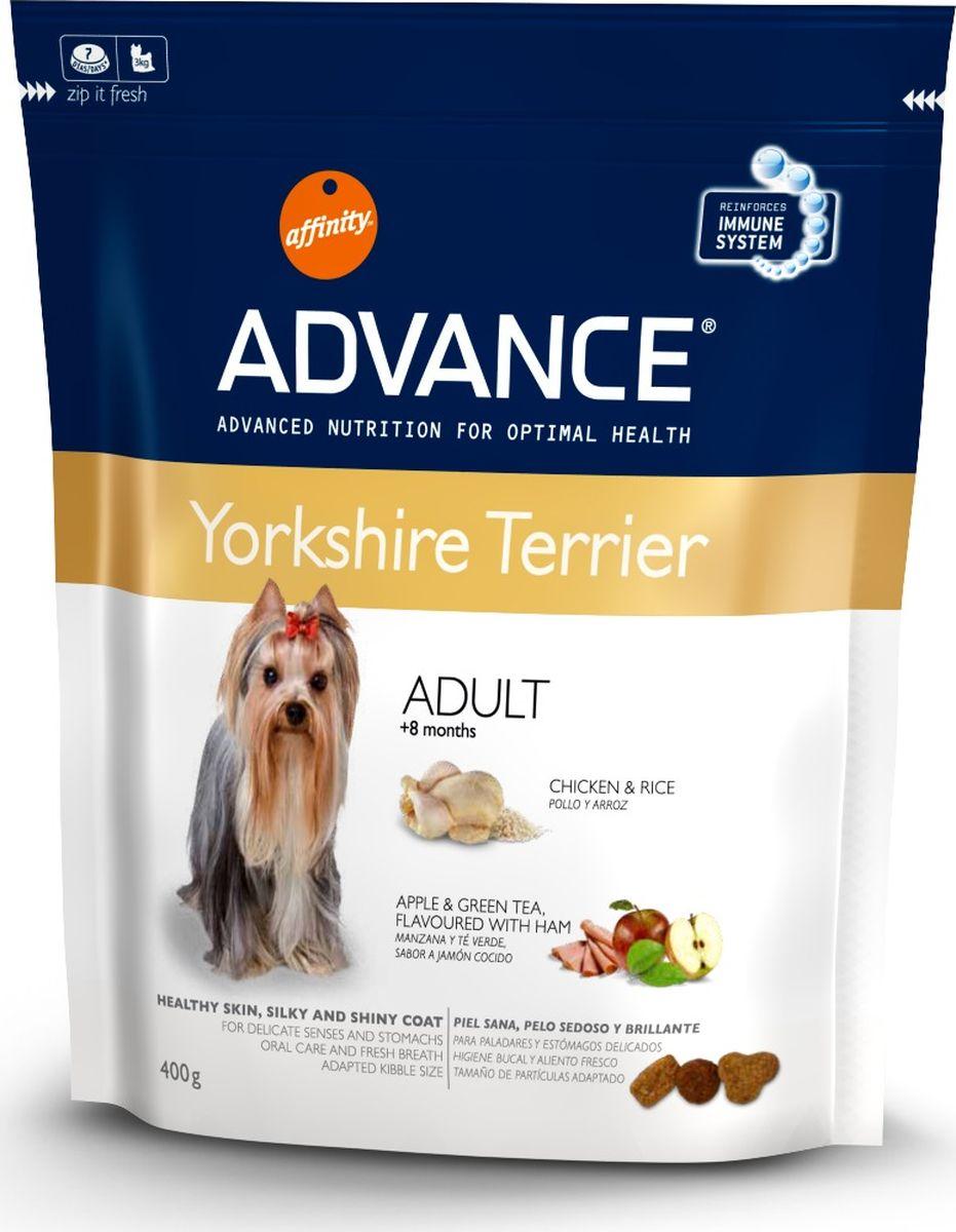 Корму сухой Advance для йоркширскх терьеров Yorkshire Terrier, 0,4 кг. 92223913076Advance – высококачественный корм супер-премиум класса Испанской компании Affinity Petcare, которая занимает лидирующие места на Европейском и мировом рынках. Корм разработан с учетом всех особенностей развития и жизнедеятельности собак и кошек. В линейке кормов Advance любой хозяин может подобрать необходимое питание в соответствии с возрастом и уникальными особенностями своего животного, а также в случае назначения специалистами ветеринарной диеты. Курица (19%), рис (15%), дегидрированное мясо курицы, маис, мука из маиса, животный жир (стабилизированный витамином Е), гидролизированные белки животного проихождения, пшеница, свекольный жом, рыбий жир,яичный порошок, дрожжи, хлористый калий, инулин, плазменный протеин, пирофосфорнокислый натрий, монокальций фосфат, карбонат кальция, соль, дегидрированная ветчина (0.05%), дегидрированное яблоко (0.05%), зеленый чай (0.013%) и природные полифенолы. Affinity Petcare имеет собственную лабораторию, а также сотрудничает со множеством...