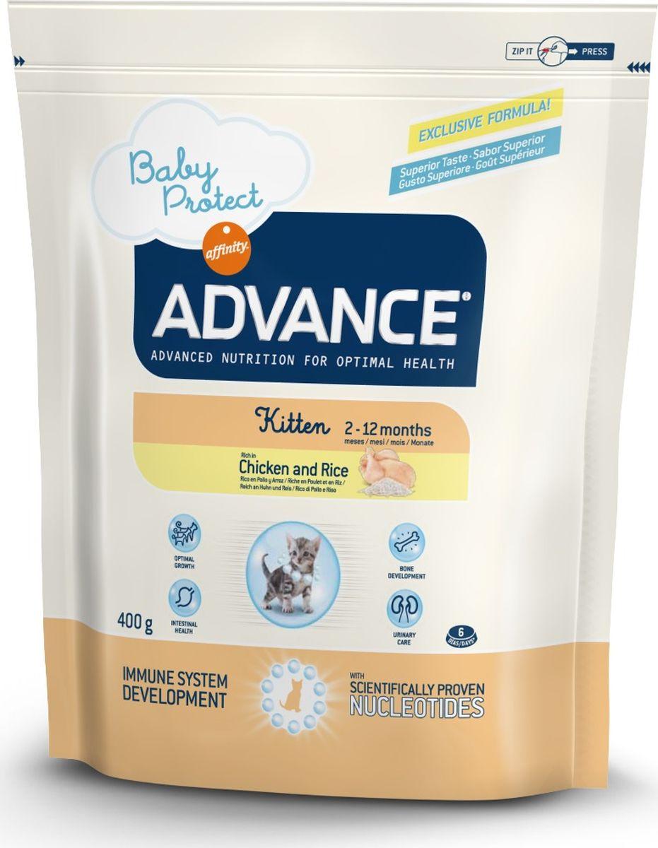 Корму сухой Advance для котят с 2 до 12 месяцев Baby Protect Kitten, 0,4 кг. 92221520711Advance – высококачественный корм супер-премиум класса Испанской компании Affinity Petcare, которая занимает лидирующие места на Европейском и мировом рынках. Корм разработан с учетом всех особенностей развития и жизнедеятельности собак и кошек. В линейке кормов Advance любой хозяин может подобрать необходимое питание в соответствии с возрастом и уникальными особенностями своего животного, а также в случае назначения специалистами ветеринарной диеты. Курица (20%), дегидрированное мясо курицы, рис (16%), маисовый глютен, животный жир, маис, дегидрированный белок свинины, пшеничный глютен, гидролизированные белки животного происхождения, дегидрированный белок лосося, свекольный жом, яичный порошок, гидролизированный белок лосося, рыбий жир, плазменный протеин, дрожжи, фруктоолигосахариды, хлористый калий, монокальцийфосфат, соевое масло, нуклеотиды. Affinity Petcare имеет собственную лабораторию, а также сотрудничает со множеством международных исследовательских центров, благодаря чему...