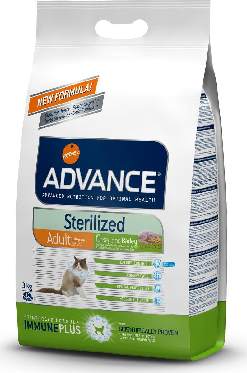 Корму сухой Advance для стерилизованных кошек с индейкой Sterilized Turkey, 3 кг. 57731120726Advance – высококачественный корм супер-премиум класса Испанской компании Affinity Petcare, которая занимает лидирующие места на Европейском и мировом рынках. Корм разработан с учетом всех особенностей развития и жизнедеятельности собак и кошек. В линейке кормов Advance любой хозяин может подобрать необходимое питание в соответствии с возрастом и уникальными особенностями своего животного, а также в случае назначения специалистами ветеринарной диеты. Индейка (15%), мука из маиса, пшеница, маис, дегидрированный белок курицы, дегидрированный белок свинины, пшеничный глютен, ячмень (8%), волокна гороха, гидролизированный белок животного происхождения, дрожжи, животный жир, соль, инулин,рыбий жир,яичный порошок, хлористый калий, плазменный протеинs,хлористый калий, глюкозамин, хондроитинсульфат, природные полифенолы Affinity Petcare имеет собственную лабораторию, а также сотрудничает со множеством международных исследовательских центров, благодаря чему специалисты постоянно совершенствуют...