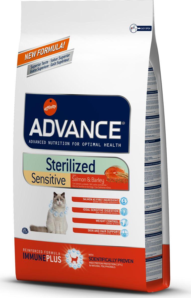 Корму сухой Advance для стерилизованных кошек с лососем Sterilized Sensitive Salmon, 10 кг. 92186620731Advance – высококачественный корм супер-премиум класса Испанской компании Affinity Petcare, которая занимает лидирующие места на Европейском и мировом рынках. Корм разработан с учетом всех особенностей развития и жизнедеятельности собак и кошек. В линейке кормов Advance любой хозяин может подобрать необходимое питание в соответствии с возрастом и уникальными особенностями своего животного, а также в случае назначения специалистами ветеринарной диеты. Лосось (18%), маисовый протеин, маис, дегидрированный белок лосося, пшеничный протеин, ячмень (8%), гидролизированный белок животного происхождения, растительные волокна, свекольный жом, животный жир, дрожжи, соль, хлористый калий, инулин, плазменный протеинs, природные полифенолы. Affinity Petcare имеет собственную лабораторию, а также сотрудничает со множеством международных исследовательских центров, благодаря чему специалисты постоянно совершенствуют рецептуру и полезные свойства своих кормов. В составе главным источником белка...