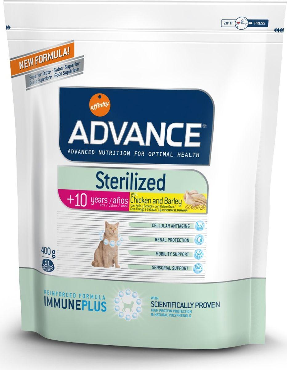 Корму сухой Advance для стерилизованных кошек старше 7 лет Sterilized 7 Years Senior, 0,4 кг. 92223120736Advance – высококачественный корм супер-премиум класса Испанской компании Affinity Petcare, которая занимает лидирующие места на Европейском и мировом рынках. Корм разработан с учетом всех особенностей развития и жизнедеятельности собак и кошек. В линейке кормов Advance любой хозяин может подобрать необходимое питание в соответствии с возрастом и уникальными особенностями своего животного, а также в случае назначения специалистами ветеринарной диеты. Курица (18%), маис, мука из маиса, дегидрированное мясо курицы, ячмень (8%), животный жир, пшеница, пшеничный глютен,дегидрированный белок свинины, гидролизированный белок животного происхождения,дегидрированный белок лосося, растительные волокна,яичный порошок, рыбий жир, дрожжи, инулин, хлористый калий, плазменный протеин, соль, глюкозамин, хондроитинсульфат, природные полифенолы. Affinity Petcare имеет собственную лабораторию, а также сотрудничает со множеством международных исследовательских центров, благодаря чему специалисты...