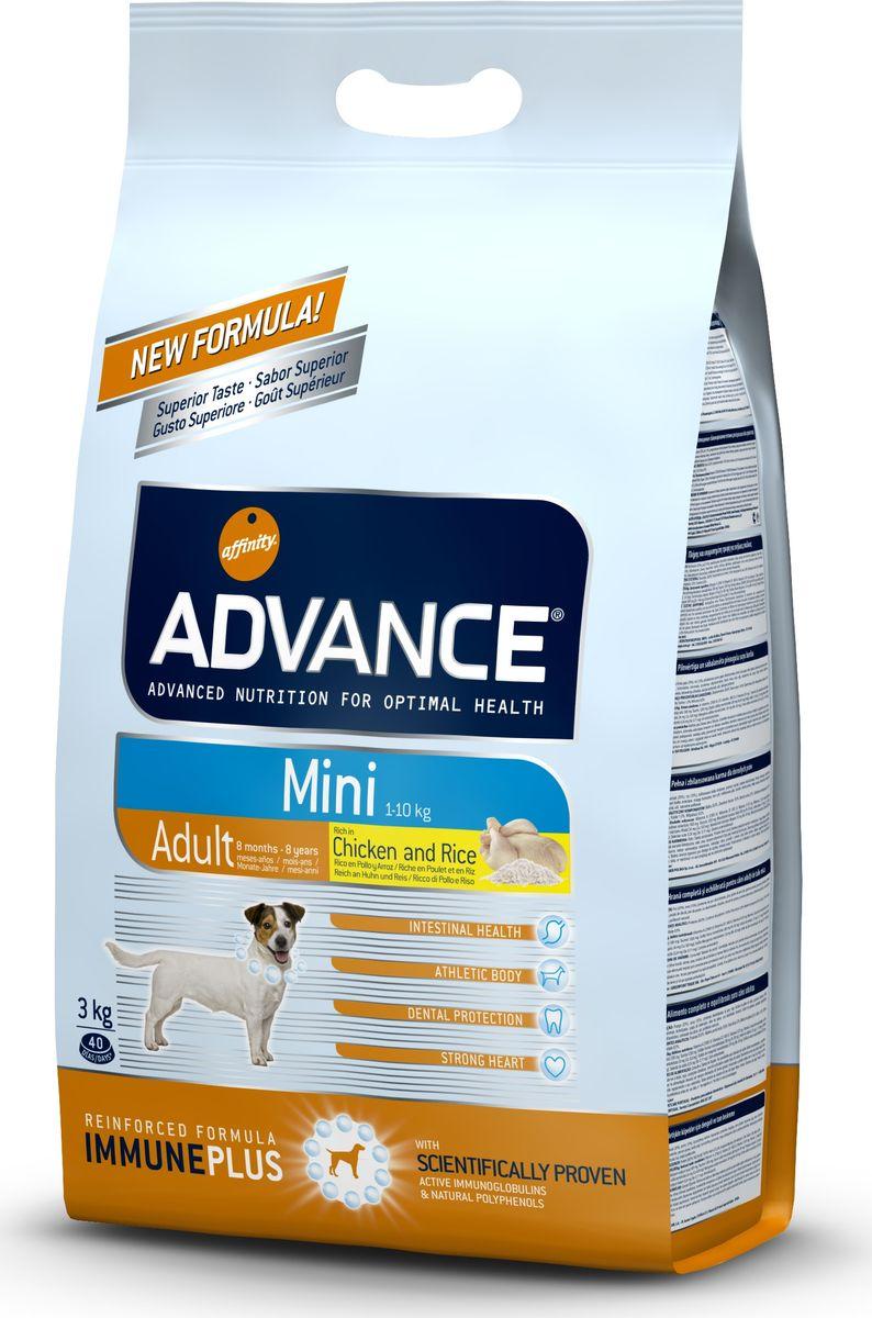 Корму сухой Advance для взрослых собак малых пород с 8 месяцев Mini Adult, 3 кг. 50231946472Advance – высококачественный корм супер-премиум класса Испанской компании Affinity Petcare, которая занимает лидирующие места на Европейском и мировом рынках. Корм разработан с учетом всех особенностей развития и жизнедеятельности собак и кошек. В линейке кормов Advance любой хозяин может подобрать необходимое питание в соответствии с возрастом и уникальными особенностями своего животного, а также в случае назначения специалистами ветеринарной диеты. Курица (20%), рис (15%), дегидрированное мясо курицы, пшеница, маисовый глютен, животный жир, маис, гидролизированный белок животного происхождения, свекольный жом, рыбий жир,яичный порошок, дрожжи, хлористый калий, плазменный протеин, пирофосфорнокислый натрий,карбонат кальция, соль, природные полифенолы. Affinity Petcare имеет собственную лабораторию, а также сотрудничает со множеством международных исследовательских центров, благодаря чему специалисты постоянно совершенствуют рецептуру и полезные свойства своих кормов. В составе...