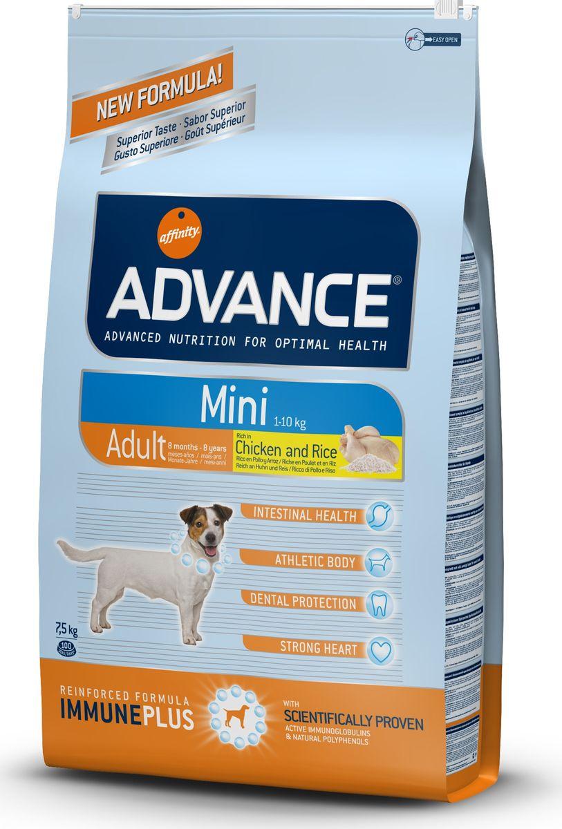 Корму сухой Advance для взрослых собак малых пород с 8 месяцев Mini Adult, 7,5 кг. 54541146473Advance – высококачественный корм супер-премиум класса Испанской компании Affinity Petcare, которая занимает лидирующие места на Европейском и мировом рынках. Корм разработан с учетом всех особенностей развития и жизнедеятельности собак и кошек. В линейке кормов Advance любой хозяин может подобрать необходимое питание в соответствии с возрастом и уникальными особенностями своего животного, а также в случае назначения специалистами ветеринарной диеты. Курица (20%), рис (15%), дегидрированное мясо курицы, пшеница, маисовый глютен, животный жир, маис, гидролизированный белок животного происхождения, свекольный жом, рыбий жир,яичный порошок, дрожжи, хлористый калий, плазменный протеин, пирофосфорнокислый натрий,карбонат кальция, соль, природные полифенолы. Affinity Petcare имеет собственную лабораторию, а также сотрудничает со множеством международных исследовательских центров, благодаря чему специалисты постоянно совершенствуют рецептуру и полезные свойства своих кормов. В составе...