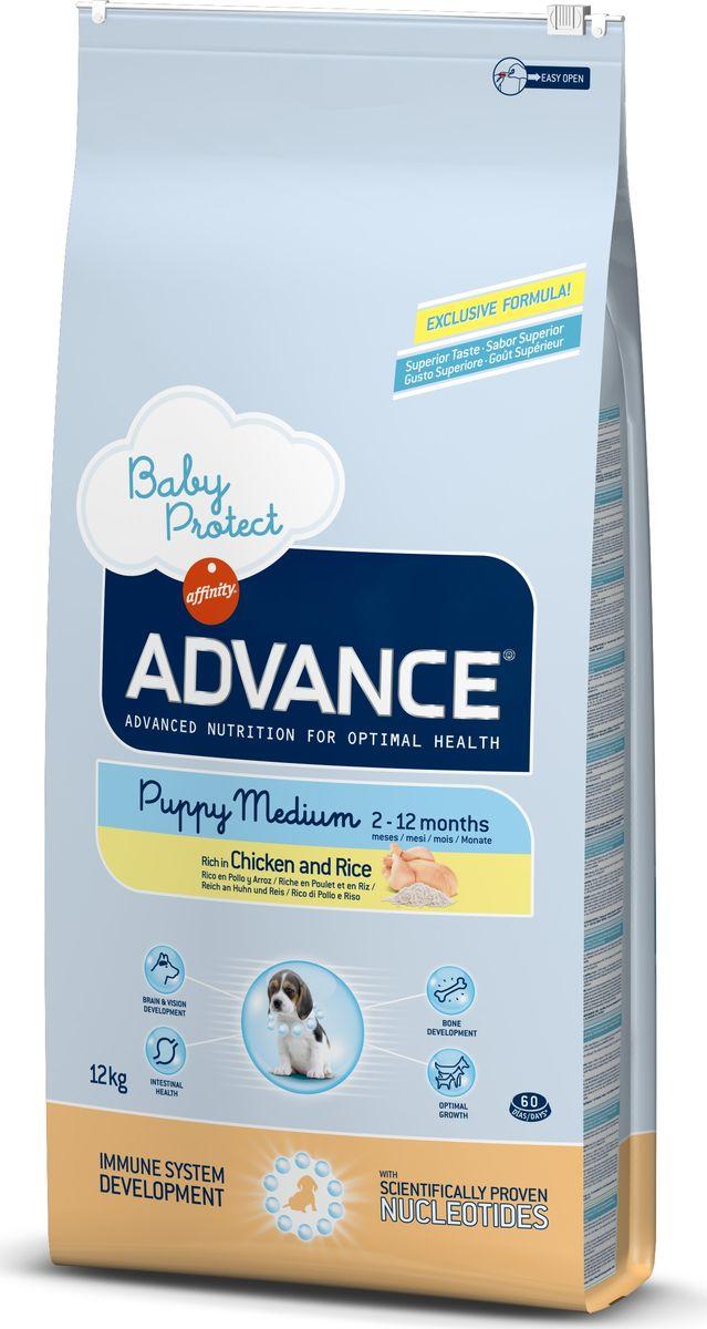 Корму сухой Advance для щенков средних пород от 2 до 12 месяцев Baby Protect Medium, 12 кг. 92216246474Advance – высококачественный корм супер-премиум класса Испанской компании Affinity Petcare, которая занимает лидирующие места на Европейском и мировом рынках. Корм разработан с учетом всех особенностей развития и жизнедеятельности собак и кошек. В линейке кормов Advance любой хозяин может подобрать необходимое питание в соответствии с возрастом и уникальными особенностями своего животного, а также в случае назначения специалистами ветеринарной диеты. Курица (20%), рис (17%), дегидрированное мясо курицы, мука из маиса, маис, животный жир, гидролизированный белок животного происхождения, пшеница, свекольный жом, рыбий жир,яичный порошок, дрожжи, плазменный протеин, хлористый калий, соль, трикальцийфосфат, нуклеотиды Affinity Petcare имеет собственную лабораторию, а также сотрудничает со множеством международных исследовательских центров, благодаря чему специалисты постоянно совершенствуют рецептуру и полезные свойства своих кормов. В составе главным источником белка является СВЕЖЕЕ...