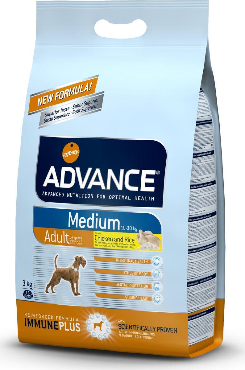 Корму сухой Advance для собак средних пород от 1 года Medium Adult, 3 кг. 50831946476Advance – высококачественный корм супер-премиум класса Испанской компании Affinity Petcare, которая занимает лидирующие места на Европейском и мировом рынках. Корм разработан с учетом всех особенностей развития и жизнедеятельности собак и кошек. В линейке кормов Advance любой хозяин может подобрать необходимое питание в соответствии с возрастом и уникальными особенностями своего животного, а также в случае назначения специалистами ветеринарной диеты. Курица (20%), рис (15%), дегидрированное мясо курицы, пшеница, мука из маиса, животный жир, маис, гидролизированный белок животного происхождения, свекольный жом, рыбий жир,яичный порошок, дрожжи, хлористый калий, плазменный протеин, пирофосфорнокислый натрий, соль, природные полифенолы. Affinity Petcare имеет собственную лабораторию, а также сотрудничает со множеством международных исследовательских центров, благодаря чему специалисты постоянно совершенствуют рецептуру и полезные свойства своих кормов. В составе главным источником белка...