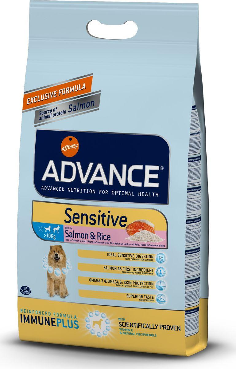 Корму сухой Advance для собак с чувствительным пищеварением: лосось и рис Sensitive, 3 кг. 52431946480Advance – высококачественный корм супер-премиум класса Испанской компании Affinity Petcare, которая занимает лидирующие места на Европейском и мировом рынках. Корм разработан с учетом всех особенностей развития и жизнедеятельности собак и кошек. В линейке кормов Advance любой хозяин может подобрать необходимое питание в соответствии с возрастом и уникальными особенностями своего животного, а также в случае назначения специалистами ветеринарной диеты. Лосось (18%), маис, мука из маиса, рис (14%), дегидрированный белок лосося, животный жир, гидролизированный протеин, дрожжи, свекольный жом, кормовая мука из рапсового жмыха, растительные волокна, хлористый калий, карбонат кальция фруктоолигосахариды, пирофосфорнокислый натрий, соль, природные полифенолы. Affinity Petcare имеет собственную лабораторию, а также сотрудничает со множеством международных исследовательских центров, благодаря чему специалисты постоянно совершенствуют рецептуру и полезные свойства своих кормов. В составе главным...