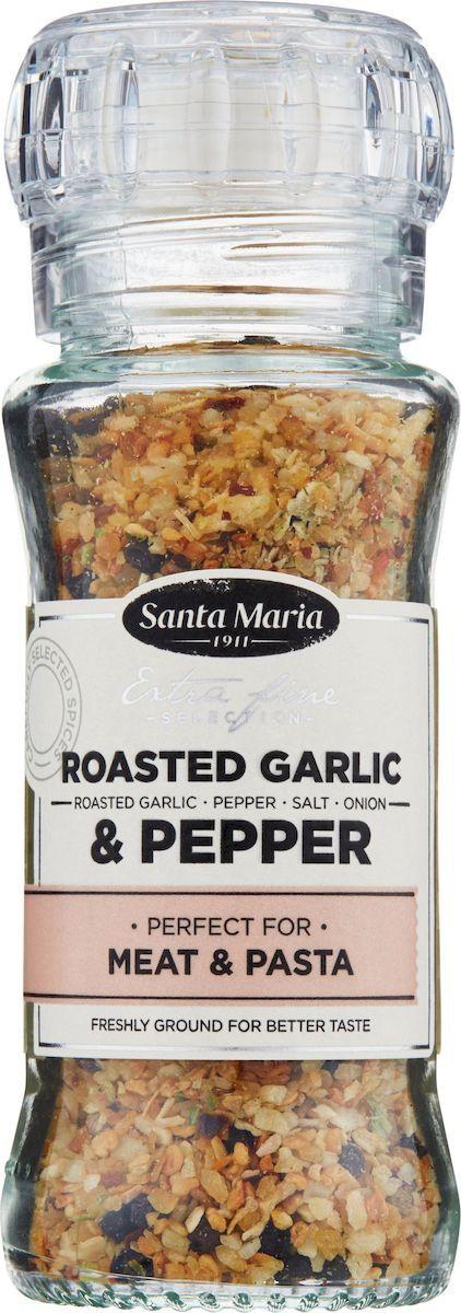 Santa Maria Чеснок и перец, 80 г26774Обжаренный чеснок, черный и белый перцы, перец чили – прекрасная смесь для придания блюдам вкуса чеснока. Идеально подходит к овощам, пастам, рыбе, стейкам, мясу и птице, приготовленным на гриле, для соусов и салатных заправок.