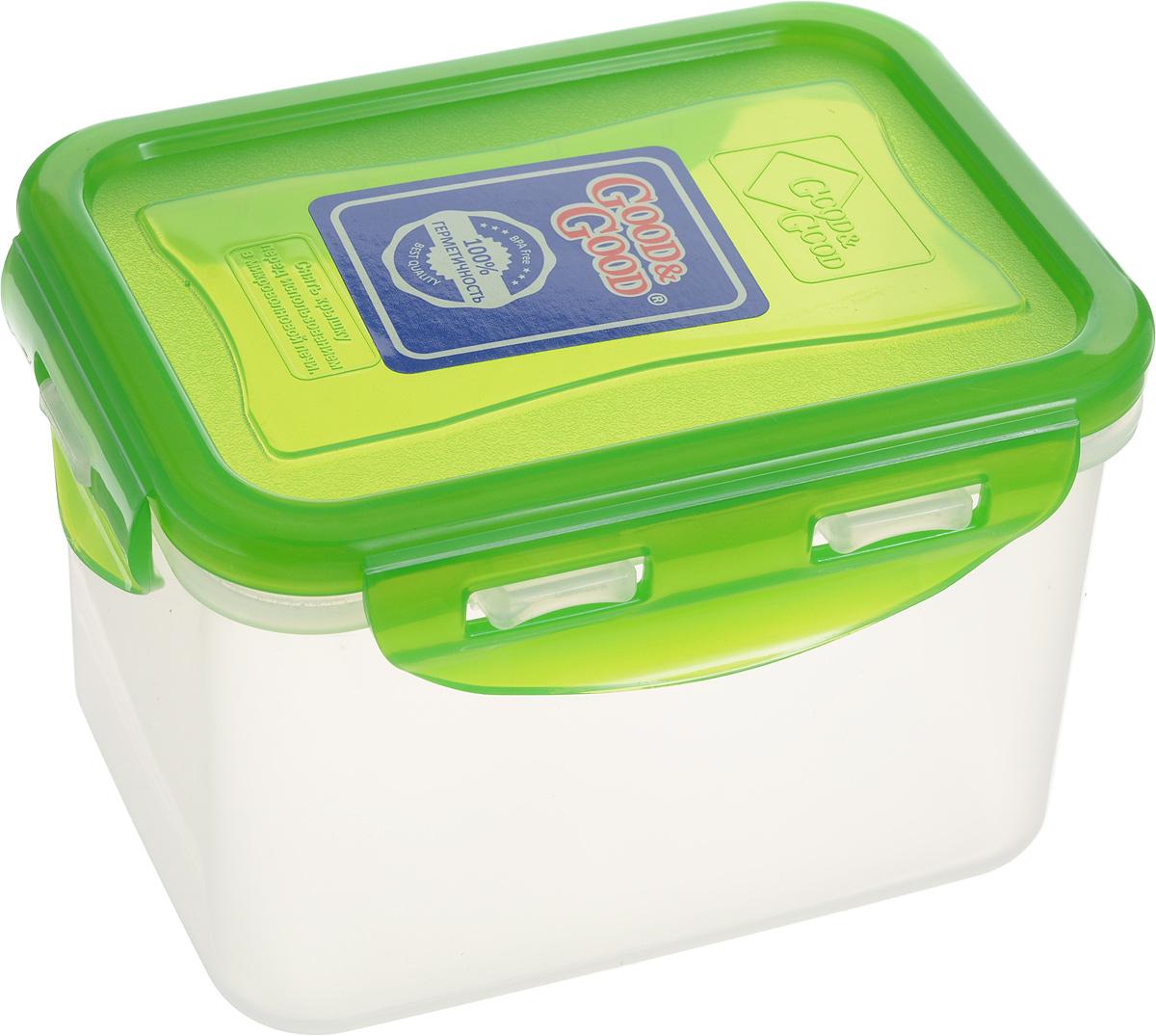 Контейнер пищевой Good&Good, цвет: зеленый, 630 мл. B/COL 02-2B/COL 02-2_зеленыйПрямоугольный контейнер Good&Good изготовлен из высококачественного полипропилена и предназначен для хранения любых пищевых продуктов. Благодаря особым технологиям изготовления, лотки в течение времени службы не меняют цвет и не пропитываются запахами. Крышка с силиконовой вставкой герметично защелкивается специальным механизмом. Контейнер Good&Good удобен для ежедневного использования в быту. Можно мыть в посудомоечной машине и использовать в микроволновой печи. Размер контейнера (с учетом крышки): 13 х 9,5 х 8,5 см.