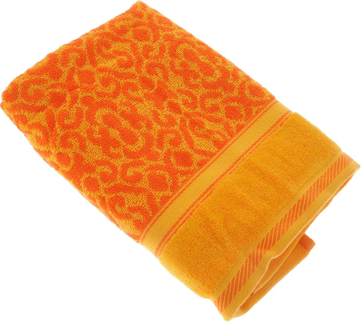 Полотенце махровое Toalla Флора, цвет: желтый, оранжевый, 50 x 90 см9271546Полотенце махровое Toalla Флора выполнено из 100% натурального египетского хлопка. Изделие оформлено изысканным орнаментом. Ткань полотенца обладает высокой плотностью и мягкостью, отличается высоким качеством и длительным сроком службы. В процессе эксплуатации материал становится только мягче и приятнее на ощупь. Египетский хлопок не содержит линта (хлопковый пух), поэтому на ткани не образуются катышки даже после многократных стирок и длительного использования. Сверхдлинные волокна придают ткани характерный красивый блеск. Полотенце отлично впитывает влагу и быстро сохнет. Такое полотенце красиво дополнит интерьер ванной комнаты и станет практичным приобретением.