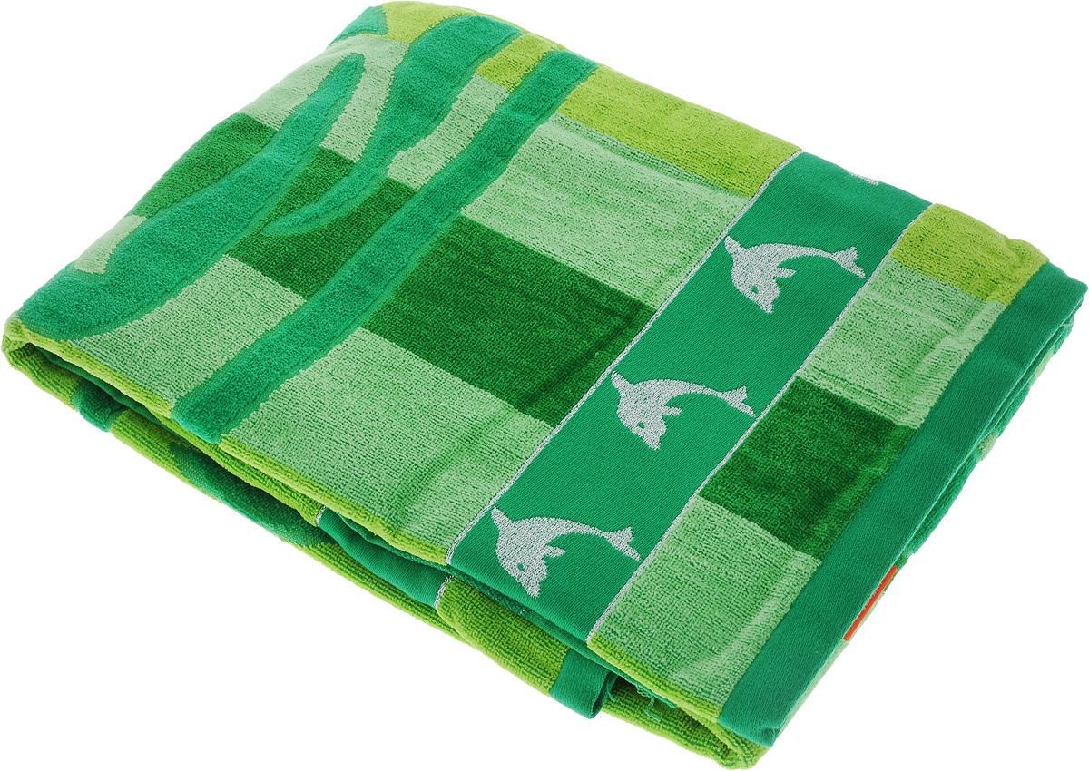 Полотенце пляжное Toalla Дельфин, цвет: зеленый, салатовый, 90 x 160 см9118946Пляжное полотенце Toalla Дельфин выполнено из 100% натурального египетского хлопка. Изделие оформлено принтом в полоску и изображением дельфина, бордюр украшен вышивкой люрексом. Ткань полотенца обладает высокой плотностью и мягкостью, отличается высоким качеством и длительным сроком службы. В процессе эксплуатации материал становится только мягче и приятнее на ощупь. Египетский хлопок не содержит линта (хлопковый пух), поэтому на ткани не образуются катышки даже после многократных стирок и длительного использования. Сверхдлинные волокна придают ткани характерный красивый блеск. Полотенце отлично впитывает влагу и быстро сохнет. Такое полотенце отлично подойдет для использования дома и на пляже и станет практичным приобретением.
