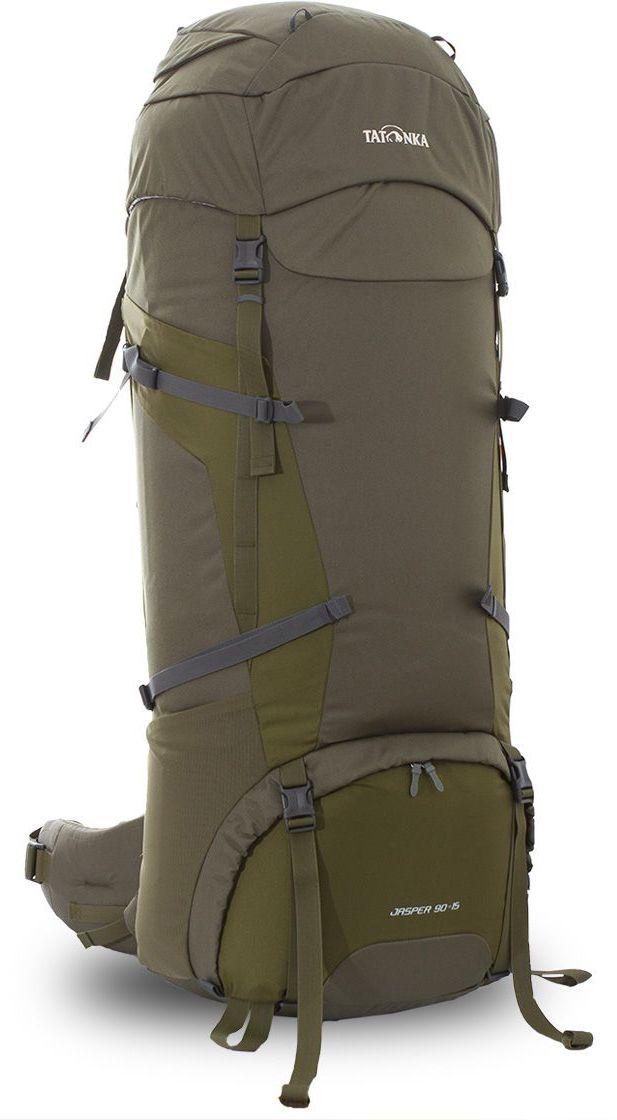 Рюкзак туристический Tatonka Jasper 90+15л, цвет: зеленый, 100x36x32 смDI.6037.331Классический туристический рюкзак большого объема. Рюкзак Jasper 90+15 выполенен в строгом дизайне из прочной ткани Textreme 6.6. Два внутренних отделения позволят с удобством разместить все необходимые в походе или путешествии вещи. За счет объемной крышки и расширяющегося основного отделения объем рюкзака достигает 105 литров. Прочная удобная спина рюкзака выполнена с учетом анатомических особенностей спины человека, благодаря этому с рюкзаком будет комфортно идти даже в продолжительном походе. Нижнее и основное отделения рюкзака разделены съемной перегородкой на молнии, одним движением их можно соединить между собой или снова разделить. Доступ в основное отделение осуществляется через верхний расширяющийся вход, а нижнее отделение оснащено молнией с двумя бегунками, благодаря чему можно получить доступ к конкретным нужным вещам, не открывая молнию полностью. Преимущества и особенности: Система подвески Y1 Одно основное отделение, увеличивающееся в объеме в верхней...
