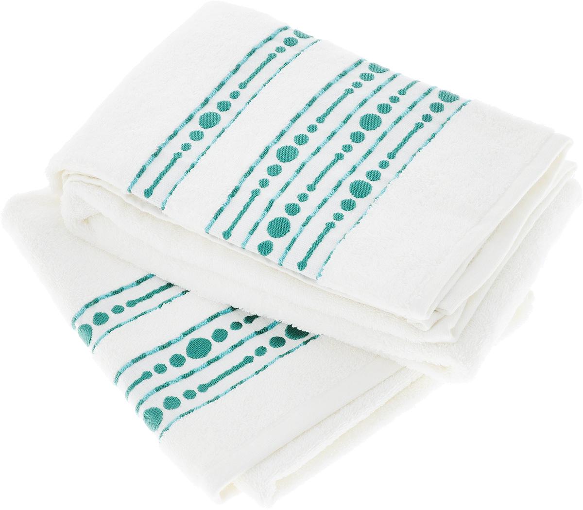 Набор махровых полотенец Toalla Волна, цвет: белый, 2 шт92717441Набор Toalla Волна состоит из 2 прямоугольных махровых полотенец, выполненных из 100% хлопка. Ткань полотенец обладает высокой плотностью и мягкостью, отличается высоким качеством и длительным сроком службы. В процессе эксплуатации материал становится только мягче и приятней на ощупь. Египетский хлопок не содержит линта (хлопковый пух), поэтому на ткани не образуются катышки даже после многократных стирок и длительного использования. Сверхдлинные волокна придают ткани характерный красивый блеск. Полотенца отлично впитывают влагу и быстро сохнут. Такой набор красиво дополнит интерьер ванной комнаты и станет практичным приобретением. Полотенца оформлены изящным вышитым бордюром.