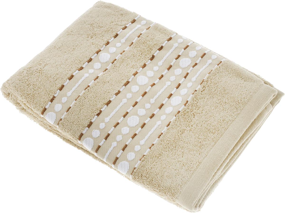Полотенце махровое Toalla Волна, цвет: песочный, 70 x 140 см9121809Полотенце махровое Toalla Волна выполнено из 100% хлопка. Ткань полотенца обладает высокой плотностью и мягкостью, отличается высоким качеством и длительным сроком службы. В процессе эксплуатации материал становится только мягче и приятней на ощупь. Египетский хлопок не содержит линта (хлопковый пух), поэтому на ткани не образуются катышки даже после многократных стирок и длительного использования. Сверхдлинные волокна придают ткани характерный красивый блеск. Полотенце отлично впитывает влагу и быстро сохнет. Такое полотенце красиво дополнит интерьер ванной комнаты и станет практичным приобретением. Изделие оформлено изящным вышитым бордюром.