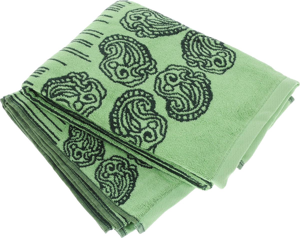 Набор махровых полотенец Toalla Аква, цвет: зеленый, темно-зеленый, 2 шт70040091Набор Toalla Аква состоит из 2 прямоугольных махровых полотенец, выполненных из 100% хлопка. Ткань полотенец обладает высокой плотностью и мягкостью, отличается высоким качеством и длительным сроком службы. В процессе эксплуатации материал становится только мягче и приятней на ощупь. Египетский хлопок не содержит линта (хлопковый пух), поэтому на ткани не образуются катышки даже после многократных стирок и длительного использования. Сверхдлинные волокна придают ткани характерный красивый блеск. Полотенца отлично впитывают влагу и быстро сохнут. Такой набор красиво дополнит интерьер ванной комнаты и станет практичным приобретением. Полотенца оформлены изысканными узорами и принтом в полоску.
