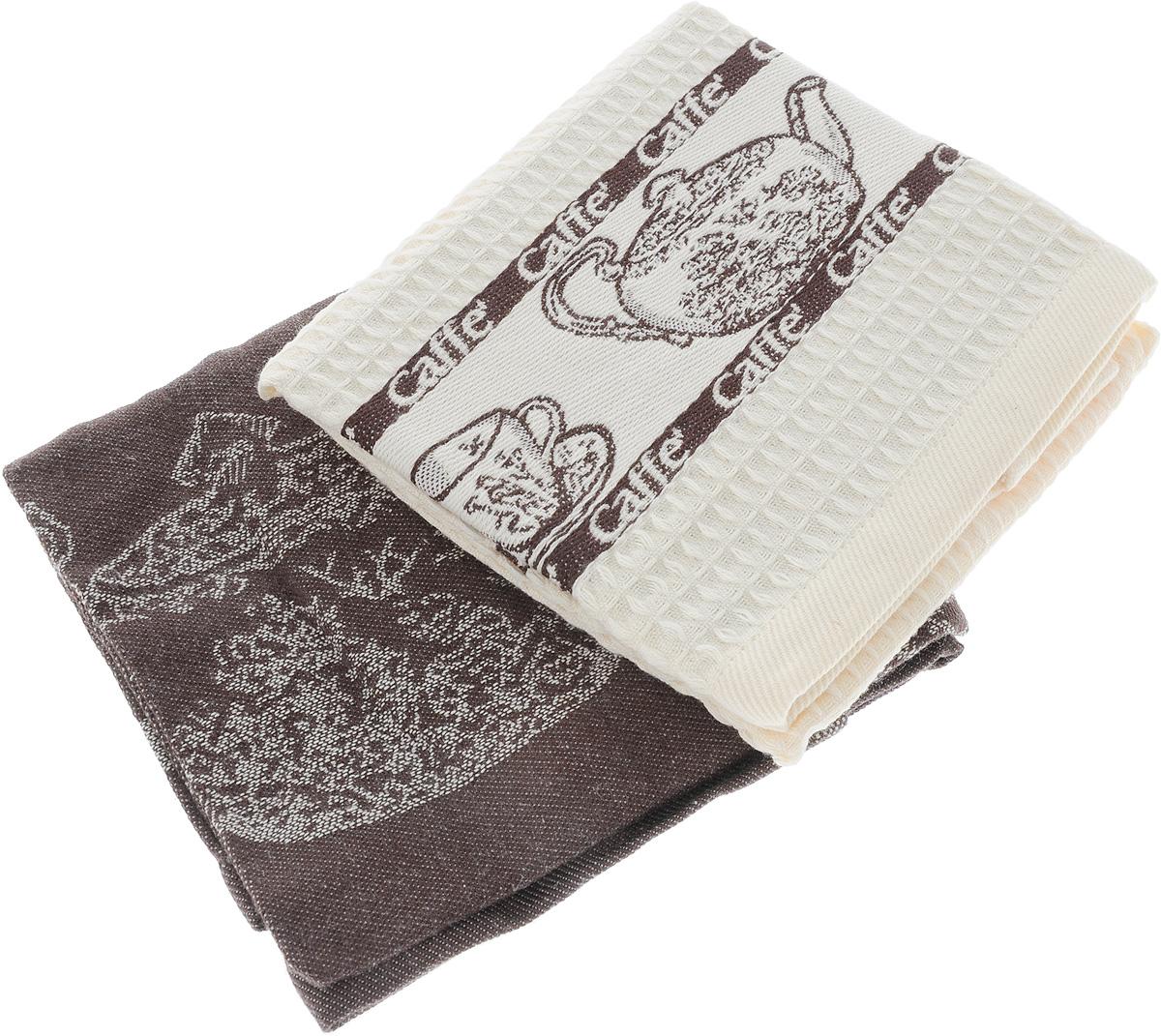 Набор кухонных полотенец Toalla Кофе, цвет: коричневый, бежевый, 40 x 60 см, 2 шт9400448Набор Toalla Кофе состоит из двух прямоугольных полотенец, выполненных из 100% хлопка. Ткань полотенец обладает высокой плотностью и мягкостью, отличается высоким качеством и длительным сроком службы. В процессе эксплуатации материал становится только мягче и приятней на ощупь. Египетский хлопок не содержит линта (хлопковый пух), поэтому на ткани не образуются катышки даже после многократных стирок и длительного использования. Сверхдлинные волокна придают ткани характерный красивый блеск. Полотенца отлично впитывают влагу и быстро сохнут. Набор предназначен для использования на кухне и в столовой. Полотенца дополнены изящным вышитым бордюром. Набор полотенец Toalla Кофе - отличное приобретение для каждой хозяйки.