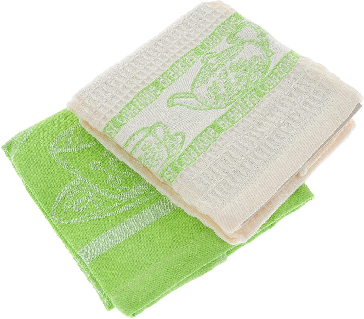 Набор кухонных полотенец Toalla Завтрак, цвет: зеленый, бежевый, 40 x 60 см, 2 шт9400428Набор Toalla Завтрак состоит из двух прямоугольных полотенец, выполненных из 100% хлопка. Ткань полотенец обладает высокой плотностью и мягкостью, отличается высоким качеством и длительным сроком службы. В процессе эксплуатации материал становится только мягче и приятней на ощупь. Египетский хлопок не содержит линта (хлопковый пух), поэтому на ткани не образуются катышки даже после многократных стирок и длительного использования. Сверхдлинные волокна придают ткани характерный красивый блеск. Полотенца отлично впитывают влагу и быстро сохнут. Набор предназначен для использования на кухне и в столовой. Полотенца дополнены изящным вышитым бордюром. Набор полотенец Toalla Завтрак - отличное приобретение для каждой хозяйки.