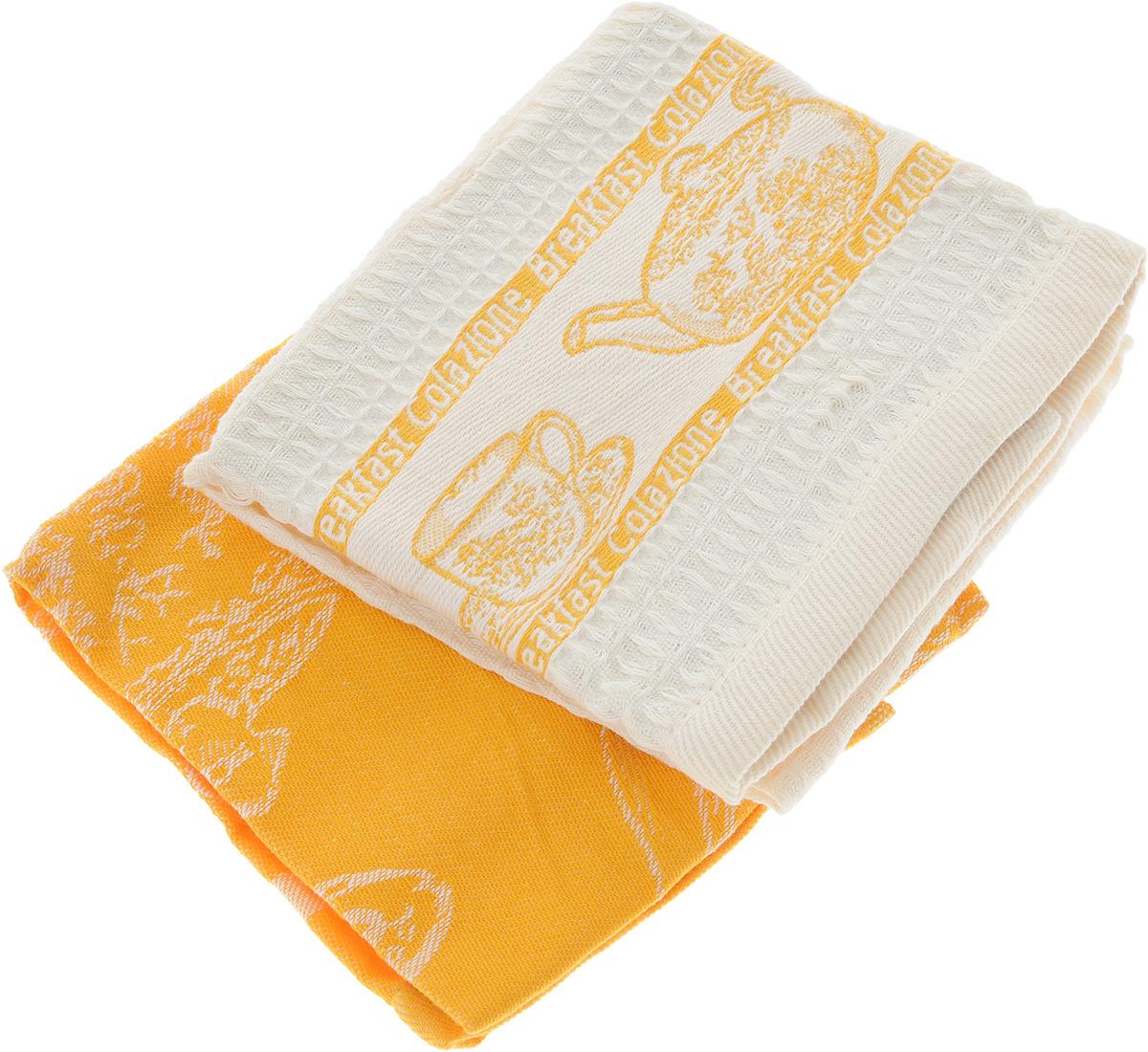 Набор кухонных полотенец Toalla Завтрак, цвет: оранжевый, бежевый, 40 x 60 см, 2 шт9400429Набор Toalla Завтрак состоит из двух прямоугольных полотенец, выполненных из 100% хлопка. Ткань полотенец обладает высокой плотностью и мягкостью, отличается высоким качеством и длительным сроком службы. В процессе эксплуатации материал становится только мягче и приятней на ощупь. Египетский хлопок не содержит линта (хлопковый пух), поэтому на ткани не образуются катышки даже после многократных стирок и длительного использования. Сверхдлинные волокна придают ткани характерный красивый блеск. Полотенца отлично впитывают влагу и быстро сохнут. Набор предназначен для использования на кухне и в столовой. Полотенца дополнены изящным вышитым бордюром. Набор полотенец Toalla Завтрак - отличное приобретение для каждой хозяйки.