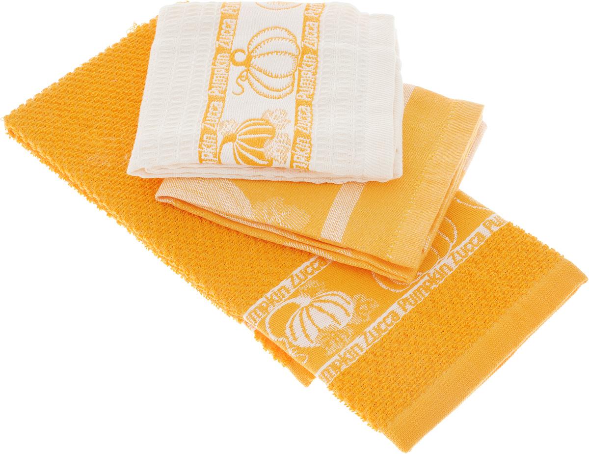 Набор кухонных полотенец Toalla Тыква, цвет: оранжевый, светло-бежевый, 40 x 60 см, 3 шт9400351Набор Toalla Тыква состоит из трех прямоугольных полотенец, выполненных из 100% хлопка. Ткань полотенец обладает высокой плотностью и мягкостью, отличается высоким качеством и длительным сроком службы. В процессе эксплуатации материал становится только мягче и приятней на ощупь. Египетский хлопок не содержит линта (хлопковый пух), поэтому на ткани не образуются катышки даже после многократных стирок и длительного использования. Сверхдлинные волокна придают ткани характерный красивый блеск. Полотенца отлично впитывают влагу и быстро сохнут. Набор предназначен для использования на кухне и в столовой. Полотенца дополнены изящным вышитым бордюром. Набор полотенец Toalla Тыква - отличное приобретение для каждой хозяйки.