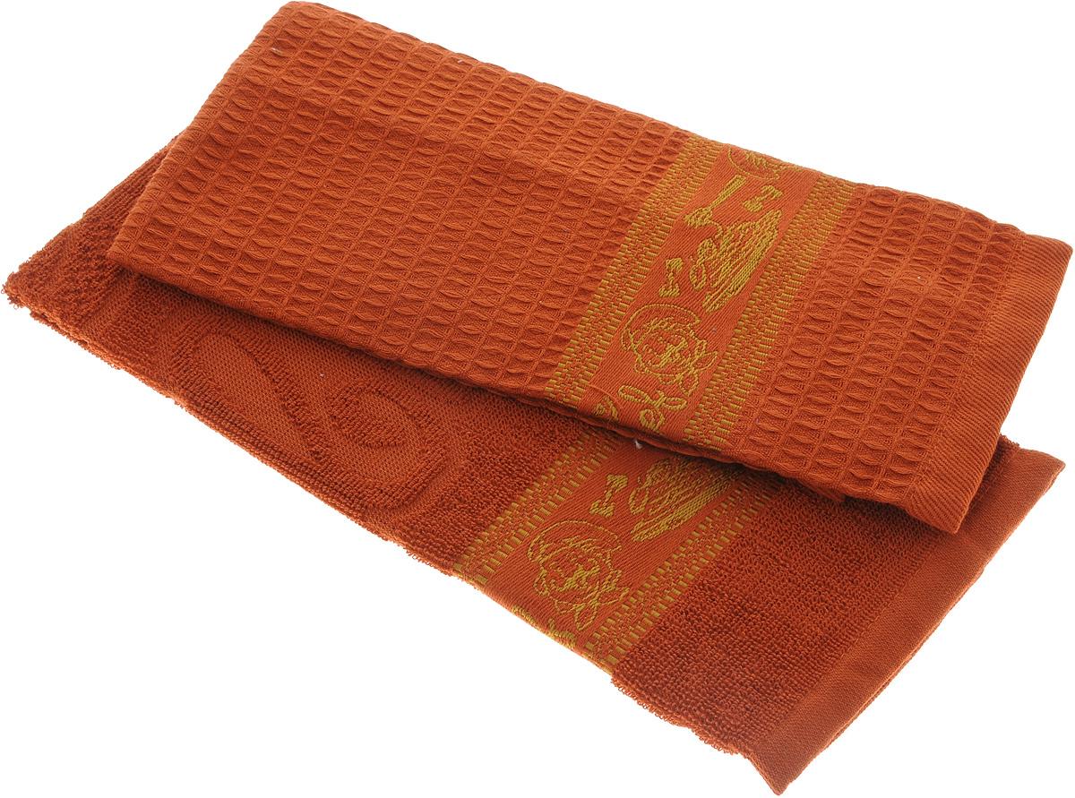Набор кухонных полотенец Toalla Повар, цвет: терракотовый, 40 x 60 см, 2 шт9400415Набор Toalla Повар состоит из двух прямоугольных полотенец (вафельного и махрового), выполненных из 100% хлопка. Ткань полотенец обладает высокой плотностью и мягкостью, отличается высоким качеством и длительным сроком службы. В процессе эксплуатации материал становится только мягче и приятней на ощупь. Египетский хлопок не содержит линта (хлопковый пух), поэтому на ткани не образуются катышки даже после многократных стирок и длительного использования. Сверхдлинные волокна придают ткани характерный красивый блеск. Полотенца отлично впитывают влагу и быстро сохнут. Набор предназначен для использования на кухне и в столовой. Полотенца дополнены изящным вышитым бордюром. Набор полотенец Toalla Повар - отличное приобретение для каждой хозяйки.
