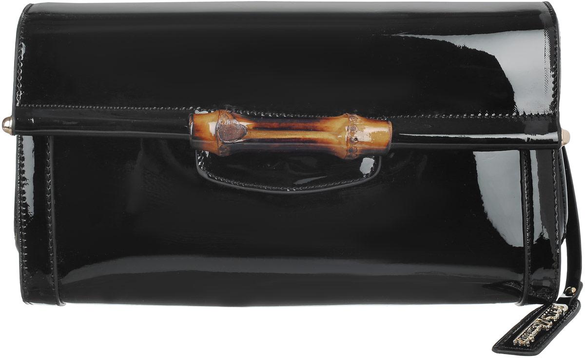 Сумка женская Stella Mazarini, цвет: черный. LK-1925-1CLK-1925-1CИзысканная женская сумка Stella Mazarini выполнена из искусственной лакированной кожи. Сумка закрывается клапаном на магнитную кнопку и украшена декоративной вставкой из бамбука. Внутри - большое отделение, разделенное средником на застежке-молнии, небольшой втачной кармашек на застежке-молнии и два накладных кармашка для телефона, мелочей. В комплекте съемный плечевой ремень. Роскошная сумка внесет элегантные нотки в ваш образ и подчеркнет ваше отменное чувство стиля.