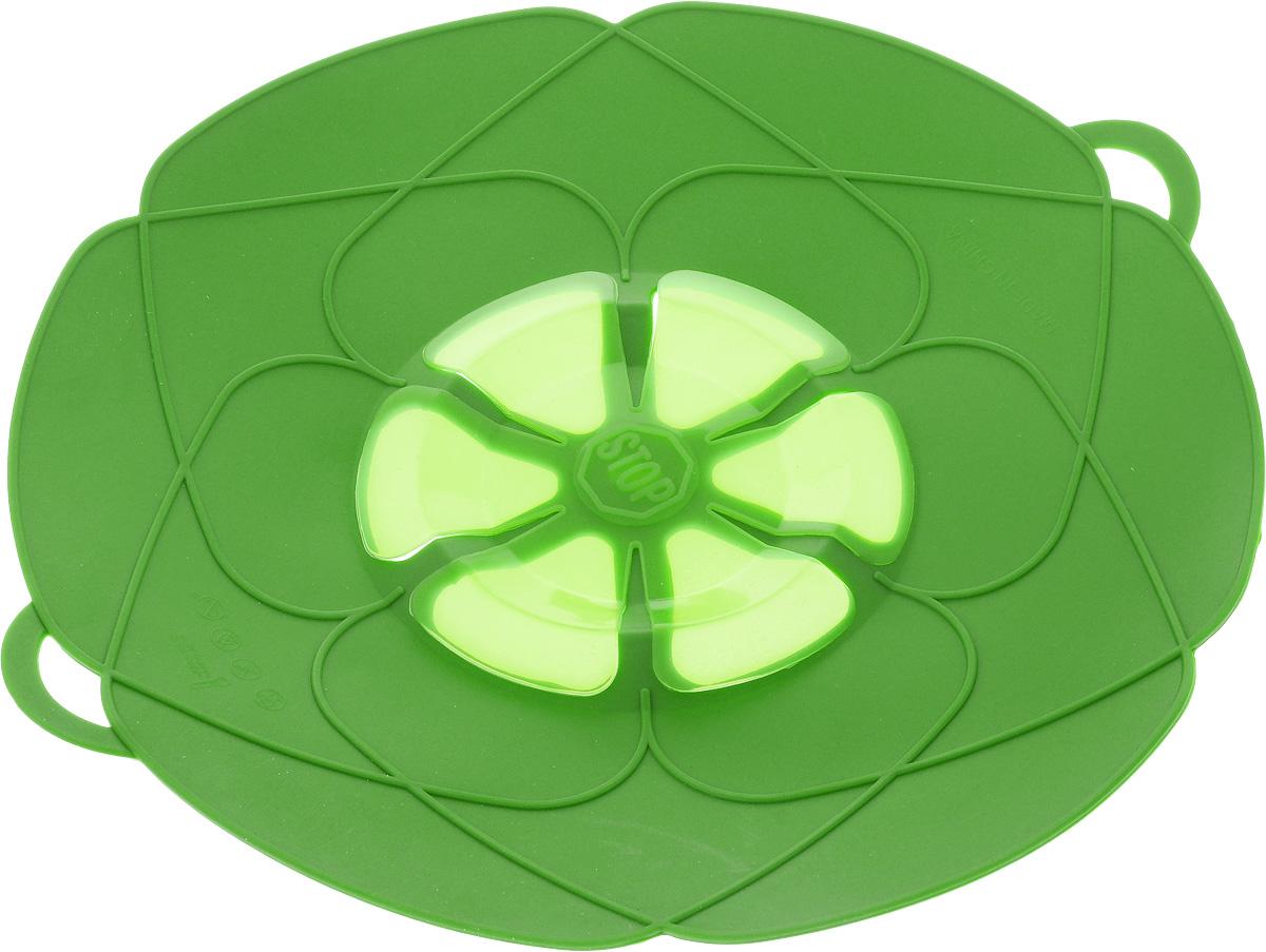 Крышка-невыкипайка As Seen On TV, цвет: зеленый, диаметр 29 см24256_зеленыйКрышка-невыкипайка As Seen On TV изготовлена из термостойкого силикона высокого качества, поэтому не теряет формы при воздействии высоких температур. Подходит для посуды диаметром 15-29 см. Изделие предотвращает выкипание, защищает мебель и плиту от брызг масла при жарке продуктов, следовательно, ваша кухня всегда будет в чистоте. Крышку также можно использовать для приготовления пищи на пару. Можно мыть в посудомоечной машине, использовать в СВЧ и в холодильнике. При хранении в прохладных местах крышка обеспечит свежесть продуктов. При использовании крышки в микроволновой печи масло не разбрызгивается. Размер крышки (с учетом ручек): 32 х 29 см.