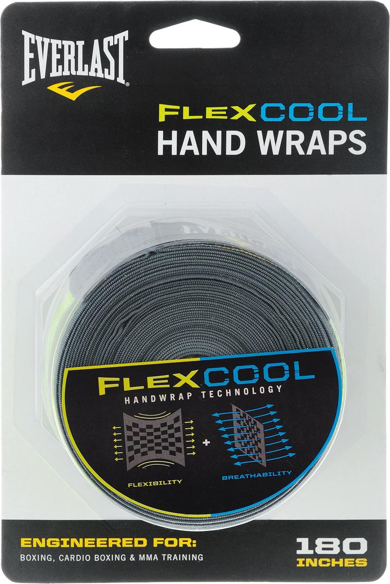 Бинт боксерский Everlast Flex cool, эластичный, цвет: серый, длина 4,55 м, 2 шт4458GЭластичный бинт Everlast Flex cool обеспечивает высокую степень комфорта и безопасности во время тренировок. Сетчатый материал прекрасно защищает костяшки пальцев, ладонь и запястье, и, в то же время, не препятствует доступу воздуха к коже, позволяя руке дышать. Бинт снабжен удобным креплением на большой палец и надежной застежкой на липучке. Изготовлен из современного эластичного материала, благодаря чему обладает высокой прочностью и износоустойчивостью. Подлежит машинной стирке. Длина одного бинта: 4,55 м. Ширина: 5 см.