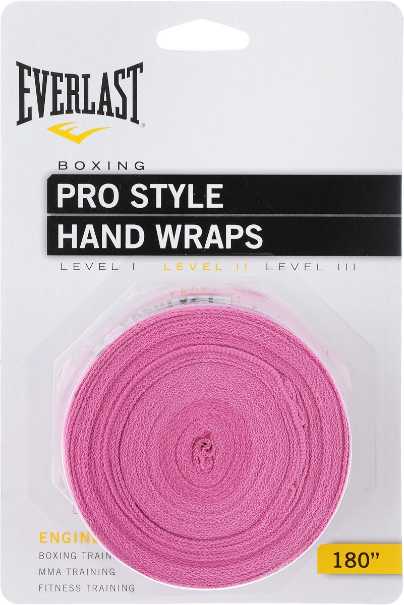 Бинт боксерский Everlast Pro style, эластичный, цвет: розовый, длина 4,55 м, 2 шт4456PNKUЭластичный бинт Everlast Pro style обеспечивает высокую степень комфорта и безопасности во время тренировок. Материал прекрасно защищает костяшки пальцев, ладонь и запястье, и, в то же время, не препятствует доступу воздуха к коже, позволяя руке дышать. Бинт снабжен удобным креплением на большой палец и надежной застежкой на липучке. Изготовлен из современного эластичного материала, благодаря чему обладает высокой прочностью и износоустойчивостью. Подлежит машинной стирке. Длина одного бинта: 4,55 м. Ширина: 5 см.