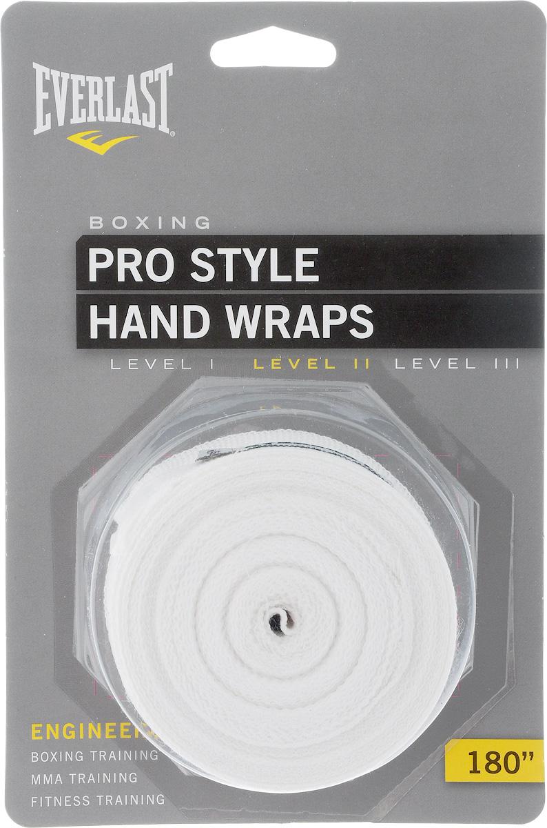 Бинт боксерский Everlast Pro style, эластичный, цвет: белый, длина 4,55 м, 2 шт4456WHTЭластичный бинт Everlast Pro style обеспечивает высокую степень комфорта и безопасности во время тренировок. Материал прекрасно защищает костяшки пальцев, ладонь и запястье, и, в то же время, не препятствует доступу воздуха к коже, позволяя руке дышать. Бинт снабжен удобным креплением на большой палец и надежной застежкой на липучке. Изготовлен из современного эластичного материала, благодаря чему обладает высокой прочностью и износоустойчивостью. Подлежит машинной стирке. Длина одного бинта: 4,55 м. Ширина: 5 см.