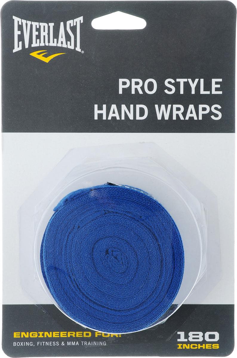 Бинт боксерский Everlast Pro style, эластичный, цвет: синий, длина 4,55 м, 2 шт4456BLUЭластичный бинт Everlast Pro style обеспечивает высокую степень комфорта и безопасности во время тренировок. Материал прекрасно защищает костяшки пальцев, ладонь и запястье, и, в то же время, не препятствует доступу воздуха к коже, позволяя руке дышать. Бинт снабжен удобным креплением на большой палец и надежной застежкой на липучке. Изготовлен из современного эластичного материала, благодаря чему обладает высокой прочностью и износоустойчивостью. Подлежит машинной стирке. Длина одного бинта: 4,55 м. Ширина: 5 см.