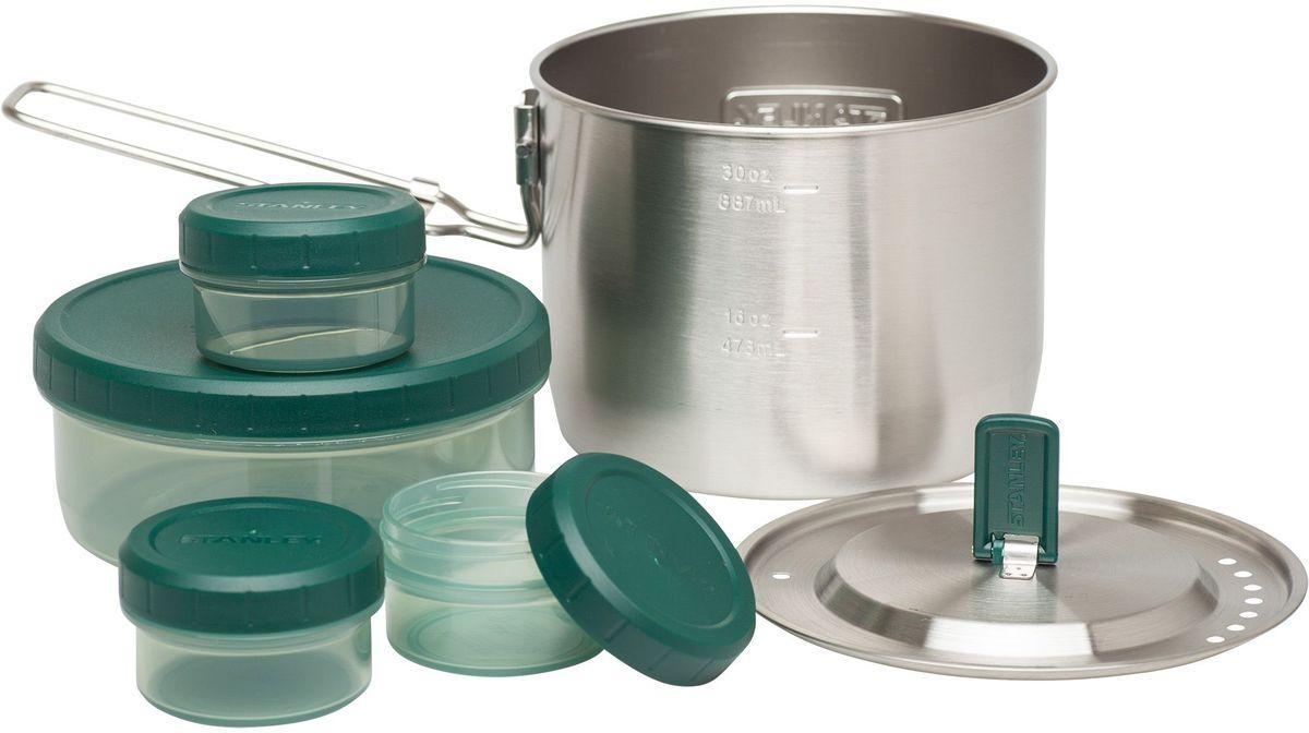 Набор походной посуды Stanley Adventure, цвет: стальной, 0,95 л10-02292-002Набор походной посуды: кастрюля из нержавеющей стали 0,95L со складной ручкой, с крышкой, контейнер 0,38 L и 3 контейнера 0,04 L с завинчивающимися крышками из пластмассы для хранения продуктов. Контейнеры герметичны и эргономичны. Для посудомоечной машины. Цвет - стальной. Пожизненная гарантия.