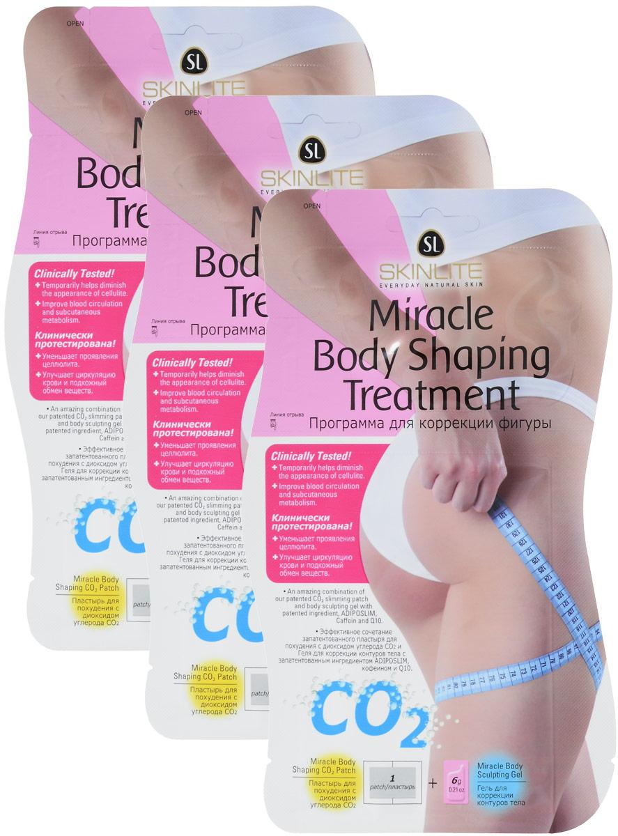 "Skinlite Программа для коррекции фигуры ""Miracle Body Shaping Treatmant"" набор: пластырь для похудения, гель для коррекции контуров тела, 3 шт"