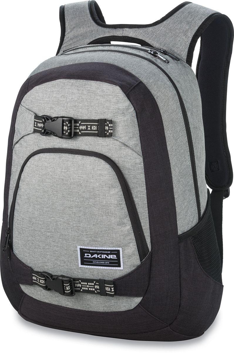 Рюкзак городской Dakine Explorer Sellwood, цвет: серый, 26 л. 813005000121582 8130050Городской рюкзак. Однообъемный. С карманом для ноутбука ( до 15) и внешним карманом-органайзером. Лямки для переноски скейта. Карман для солнцезащитных очков.
