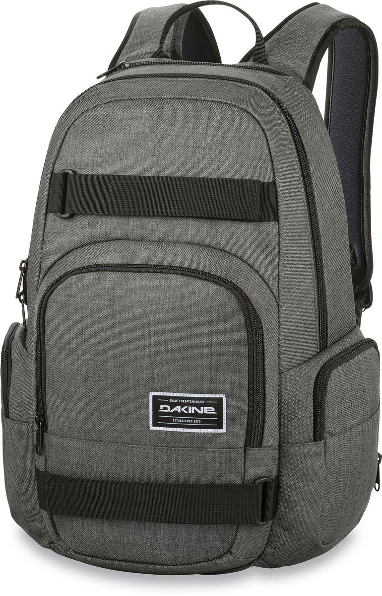 Рюкзак городской Dakine Atlas Carbon, цвет: серый, 25 л. 1000076200122424 10000762Городской рюкзак с отелением для ноутбука ( до 15) 3 внешних кармана на молнии, карман для очков из мягкого флиса. Имеются лямки для переноски скейтборда.