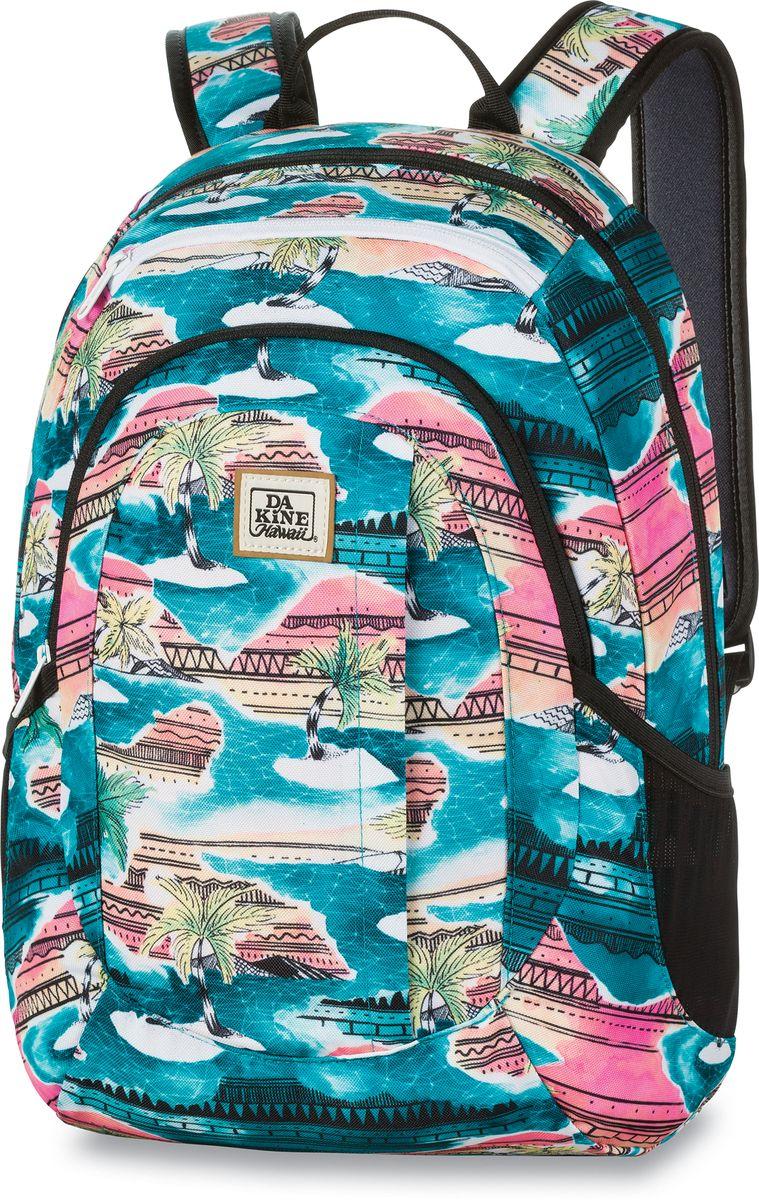 Рюкзак женский Dakine Garden Palmbay, цвет: бирюзовый, 20 л. 1000075100127227 10000751Городской женский рюкзак с отделением для ноутбука ( до 14) Карман для очков из мягкого флиса, карман-органайзер, боковые карманы из сетки.