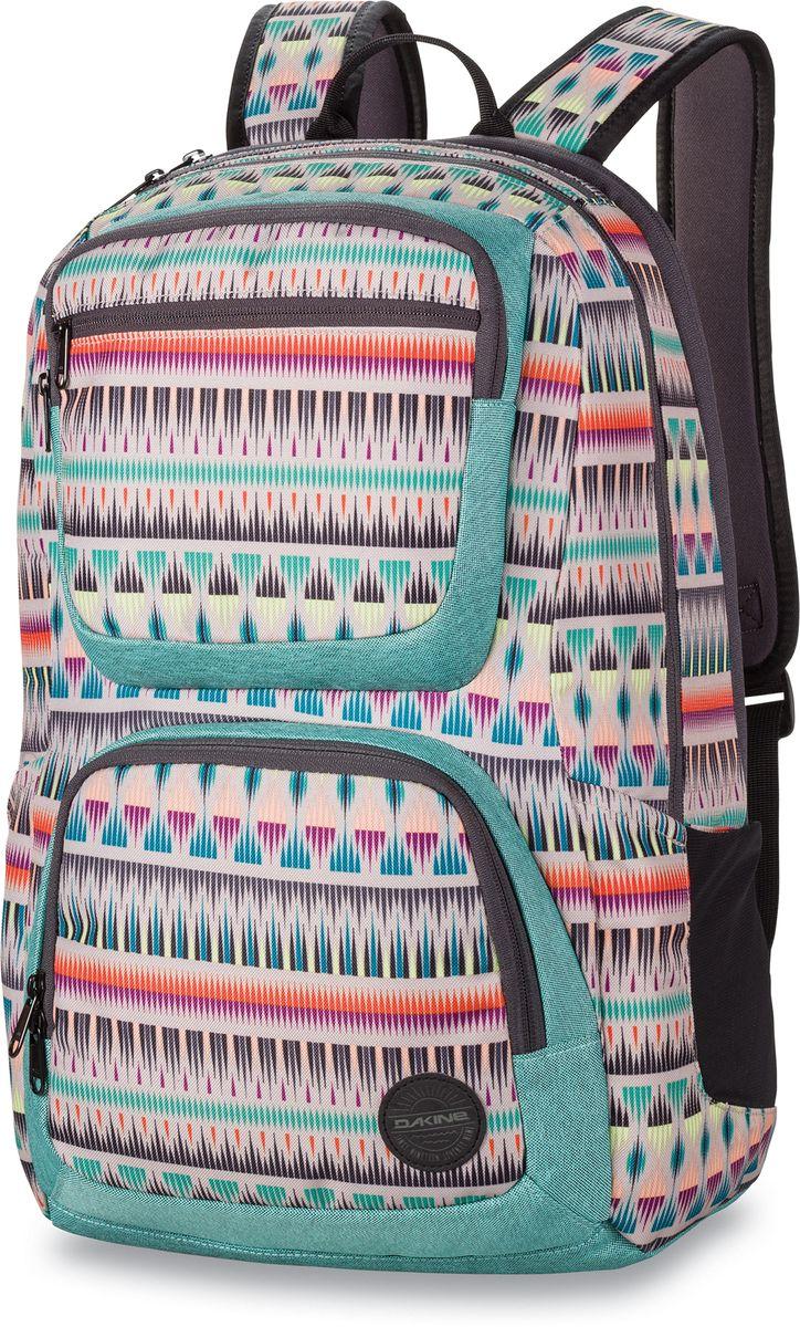 Рюкзак женский Dakine Jewel Zanzibar, цвет: мультиколор, 26 л. 1000074800127180 10000748Городской женский рюкзак. С отделением для ноутбука до 15. Карман для очков из мягкого флиса. Боковые карманы. Фронтальный карман-термос на молнии. Фронтальный карман-органайзер