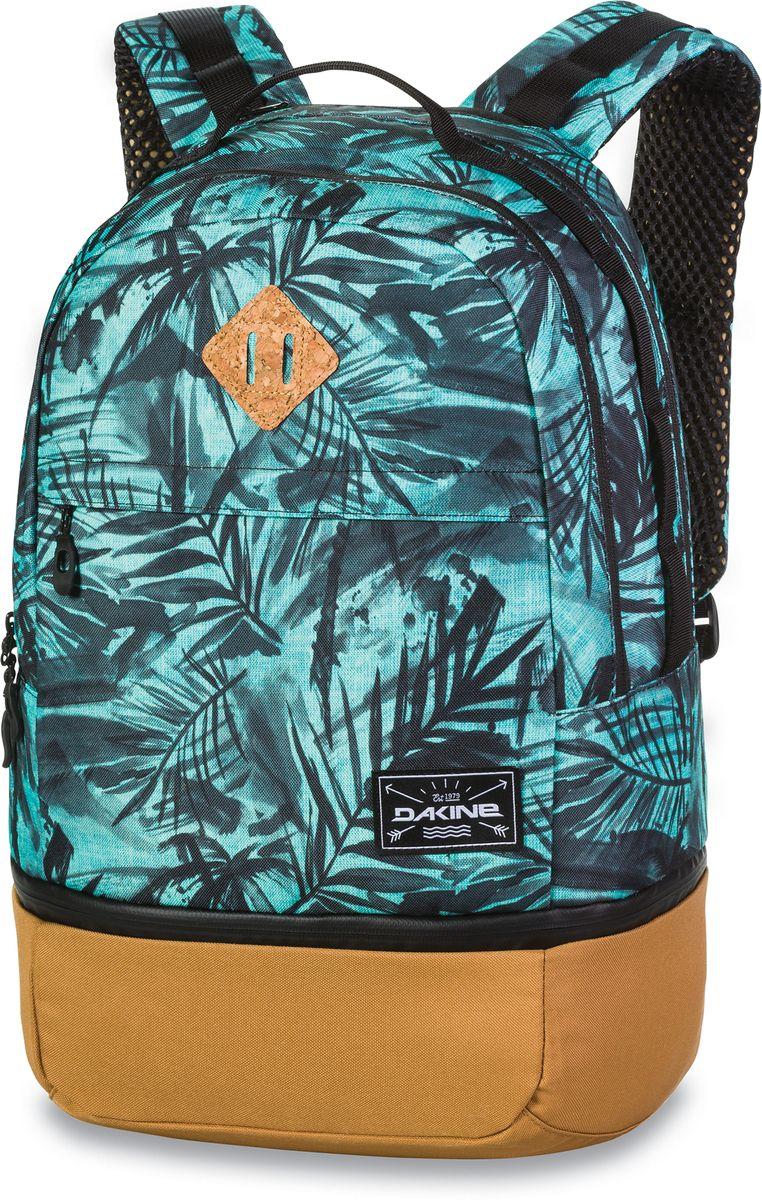 Рюкзак городской Dakine Interval Wet/Dry Painted Palm, цвет: бирюзовый, 24 л. 1000042500126982 10000425Рюкзак с отделением для мокрой одежды или обуви (нижняя часть) В основном отделении карман для ноутбука до 15. Карман-органайзер. Карман для солнцезащитных очков. Дышащие лямки.