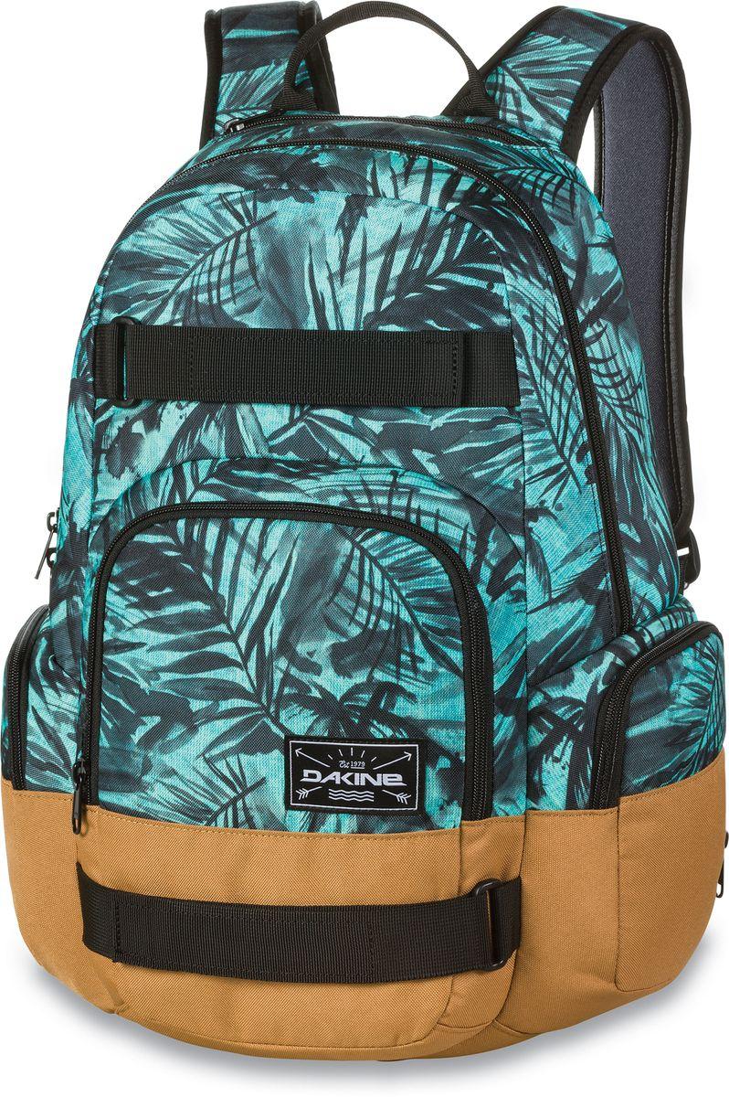 Рюкзак городской Dakine Atlas Painted Palm, цвет: бирюзовый, 25 л. 1000076200127052 10000762Городской рюкзак с отелением для ноутбука ( до 15) 3 внешних кармана на молнии, карман для очков из мягкого флиса. Имеются лямки для переноски скейтборда.