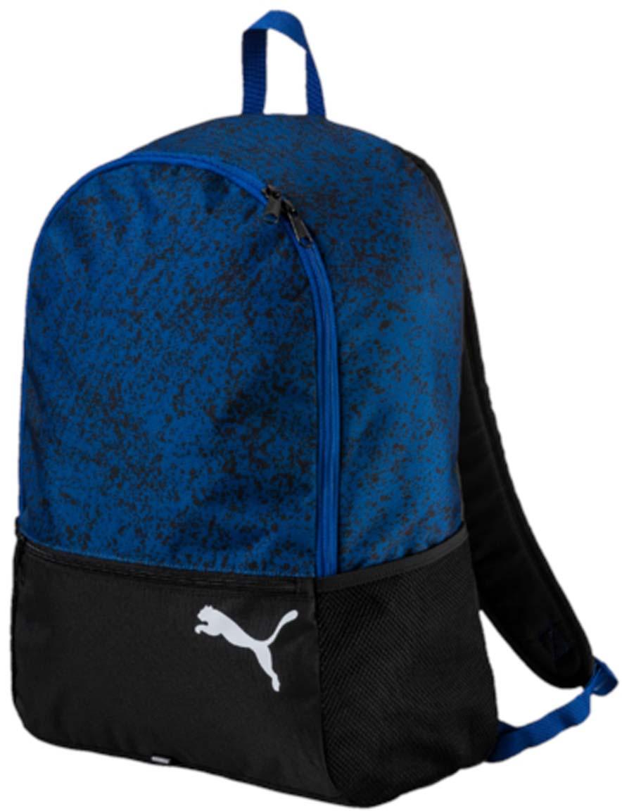 Рюкзак Puma Alpha Backpack, цвет: синий. 0744330307443303Рюкзак Puma выполнен из текстиля. Модель с одним отделением, спереди имеется карман на молнии, по боковым сторонам сетчатые карманы. Рюкзак оснащен регулируемыми по длине плечевыми лямками и петлей для подвешивания.