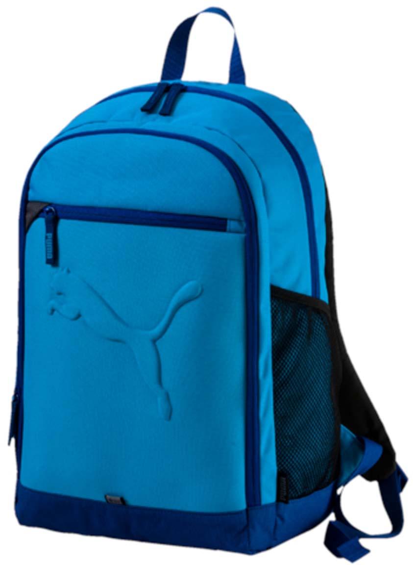 Рюкзак Puma Buzz Backpack, цвет: лазурный. 0735811907358119Рюкзак Puma выполнен из текстиля. Модель с двумя отделениями. Передняя стенка оформлена объемным карманом на молнии. Рюкзак оснащен регулируемыми по длине плечевыми лямками и петлей для подвешивания.
