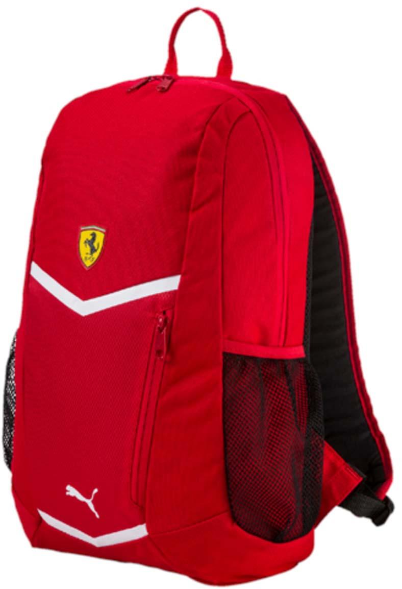 Рюкзак Puma Ferrari Fanwear Backpack, цвет: красный. 0744990107449901Рюкзак Puma выполнен из текстиля. Модель с одним отделением, спереди имеется карман на молнии, боковые стороны дополнены сетчатыми карманами. Рюкзак оснащен регулируемыми по длине плечевыми лямками и петлей для подвешивания.