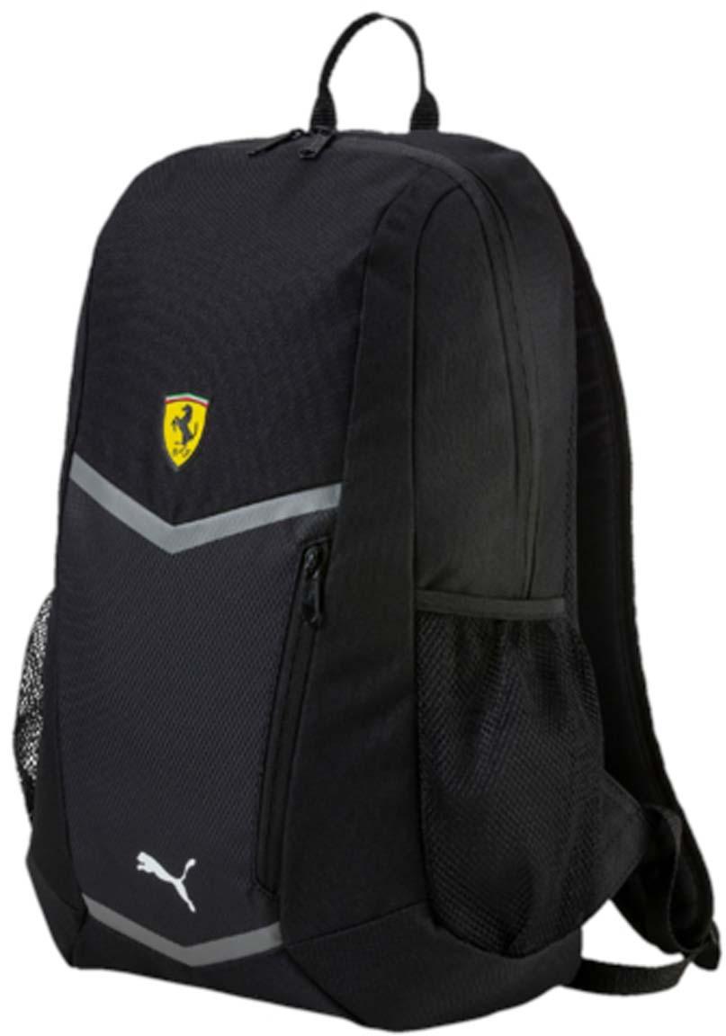 Рюкзак Puma Ferrari Fanwear Backpack, цвет: черный. 0744990207449902Рюкзак Puma выполнен из текстиля. Модель с одним отделением, спереди имеется карман на молнии, боковые стороны дополнены сетчатыми карманами. Рюкзак оснащен регулируемыми по длине плечевыми лямками и петлей для подвешивания.